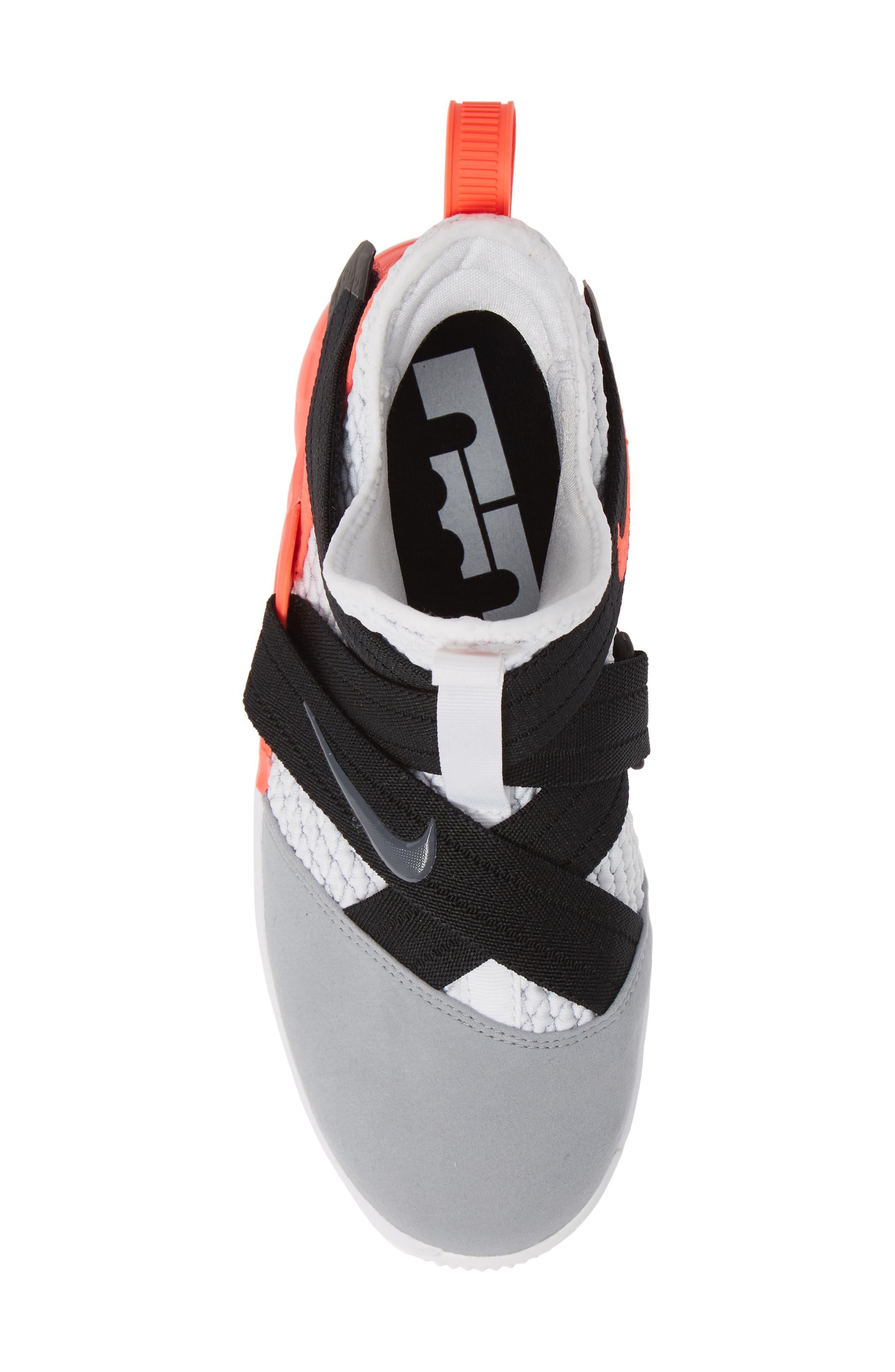 LeBron Soldier XII SFG Basketball Shoe,                             Alternate thumbnail 5, color,                             WHITE/ DARK GREY CRIMSON