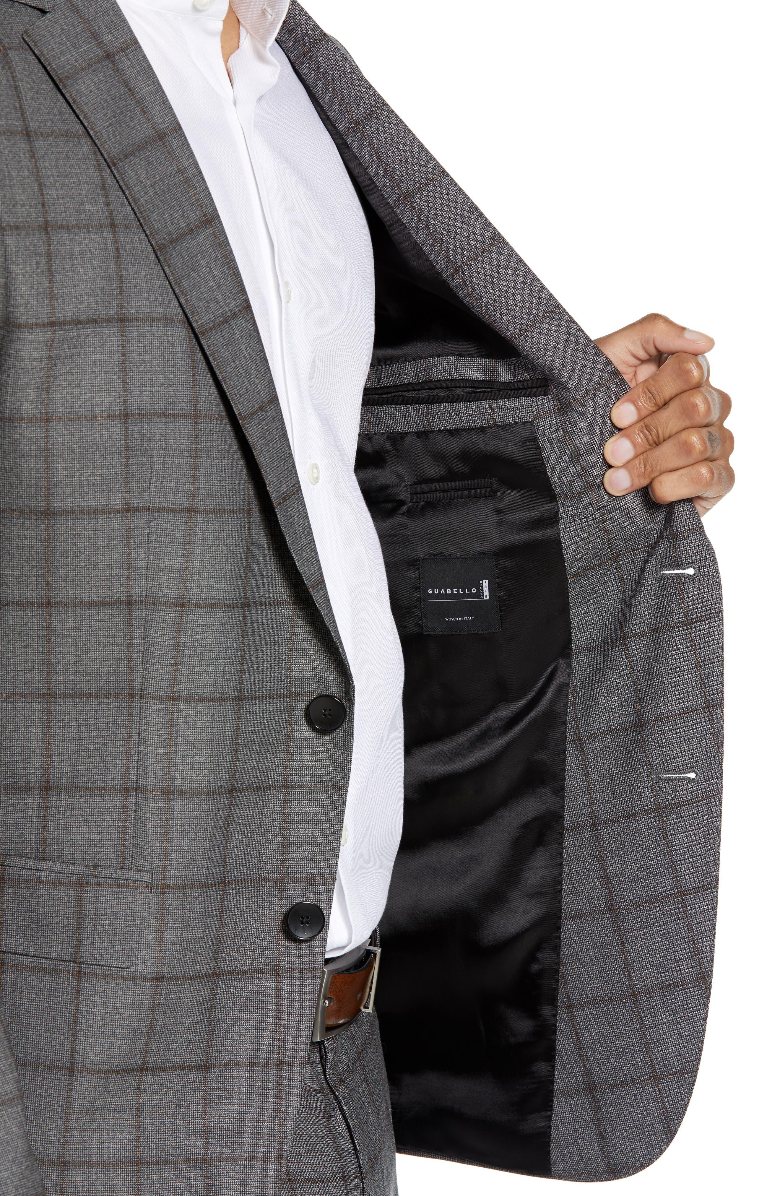 Novan/Ben Trim Fit Windowpane Wool Suit,                             Alternate thumbnail 4, color,                             OPEN GREY