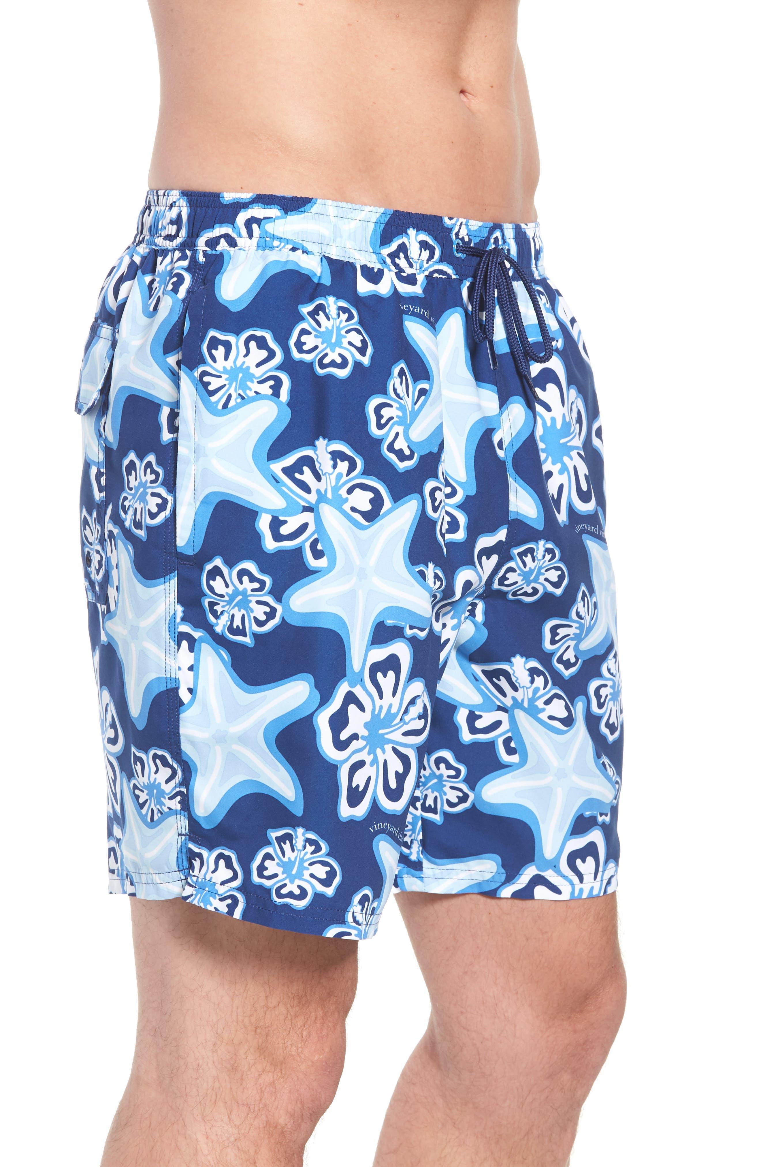 Chappy Starfish Swim Trunks,                             Alternate thumbnail 3, color,                             BLUE DEPTH
