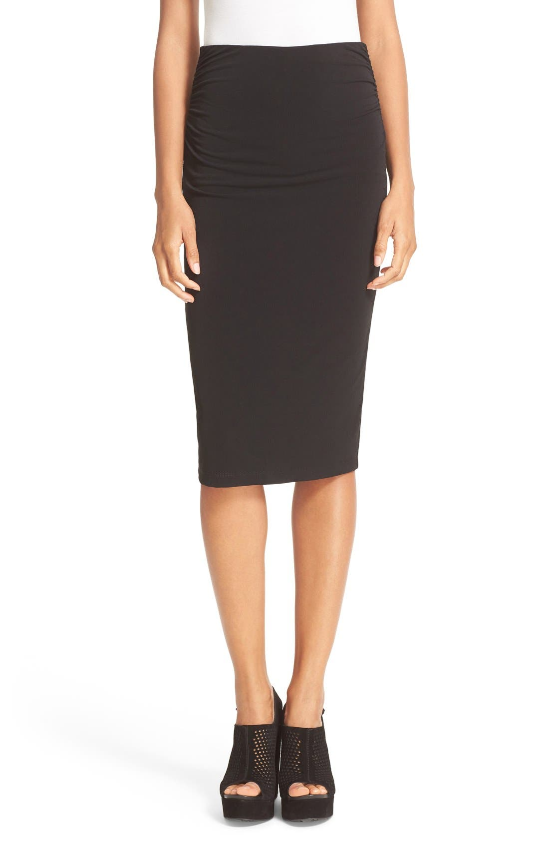 ALICE + OLIVIA Ciera Side Ruched High Waist Pencil Skirt, Main, color, 001