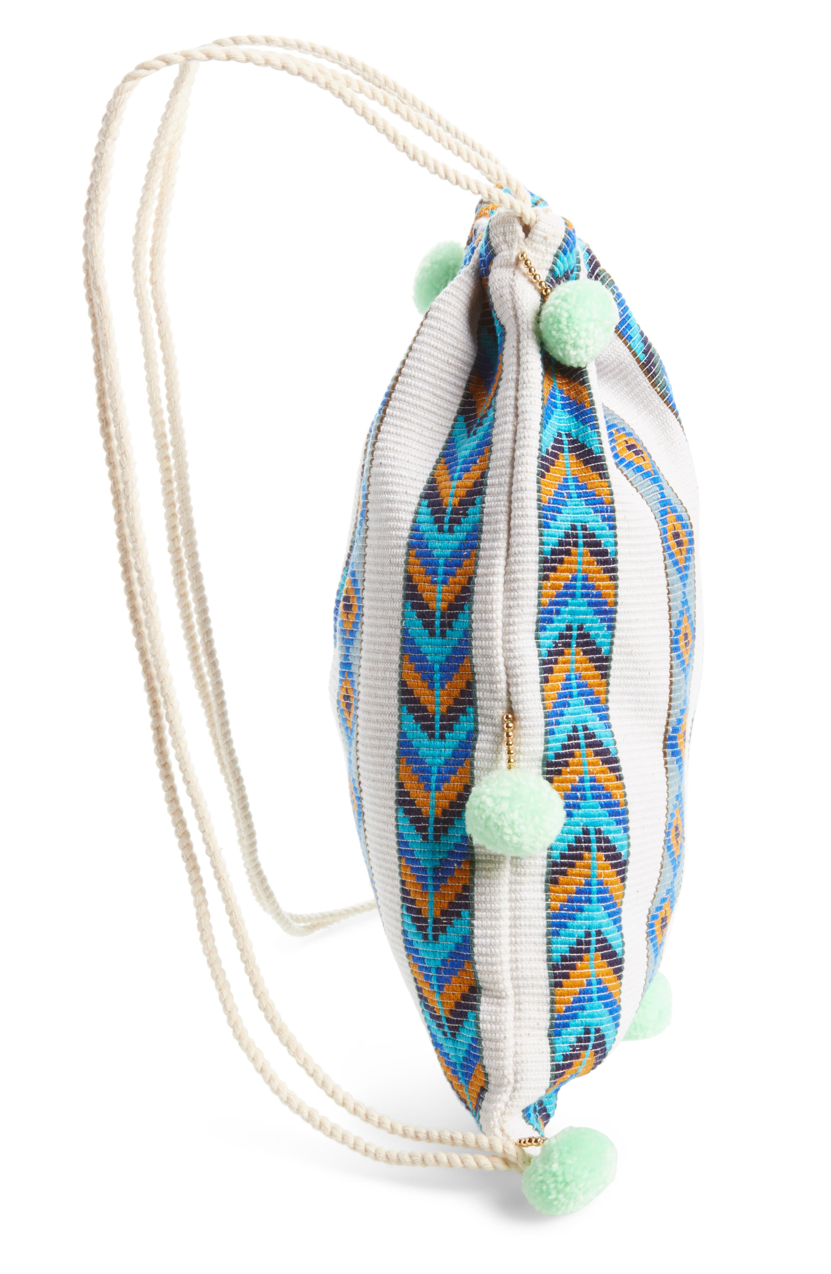 Pompom Drawstring Bag,                             Alternate thumbnail 14, color,