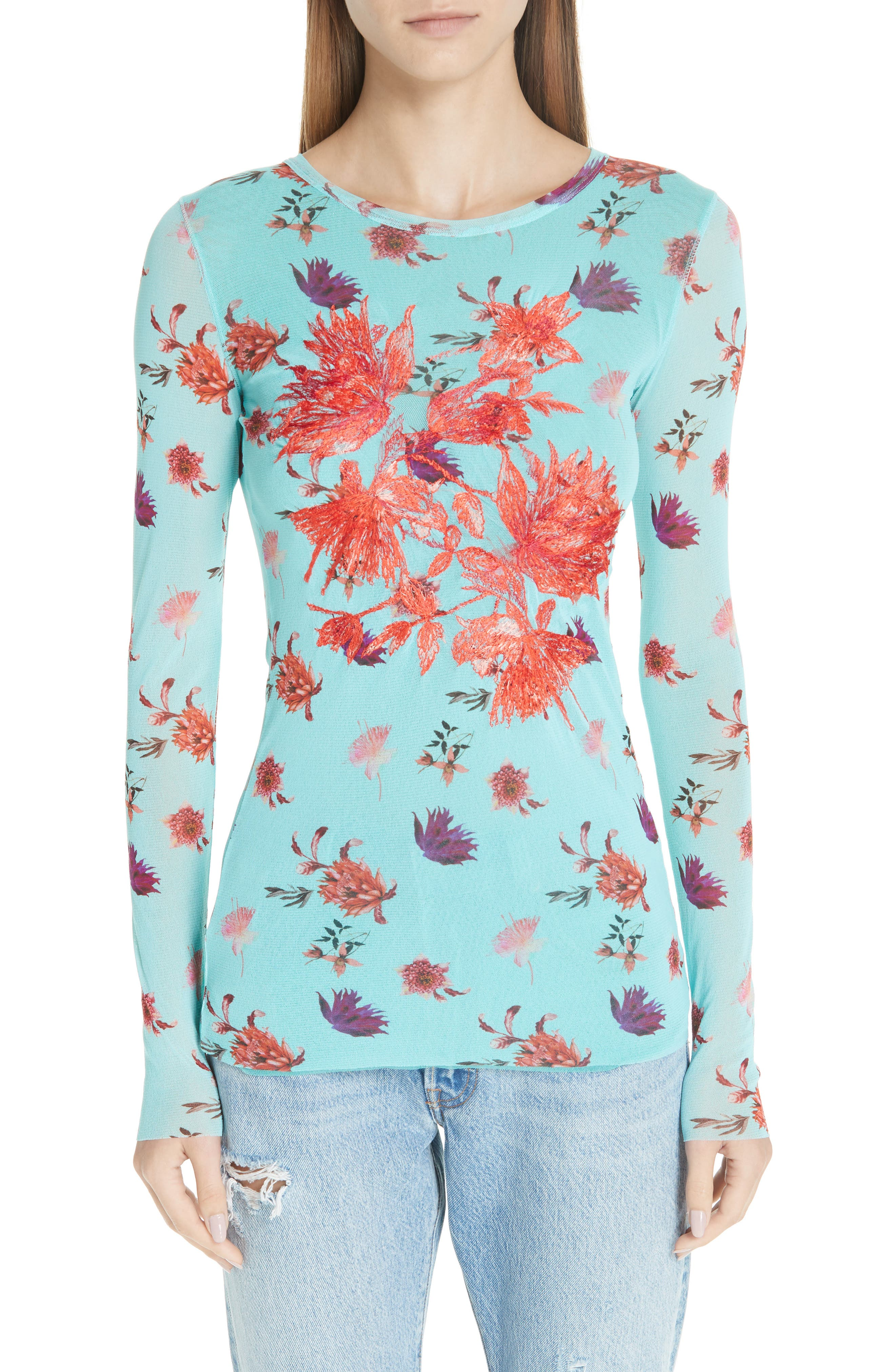 Fuzzi Embroidered Floral Tulle Top, Blue