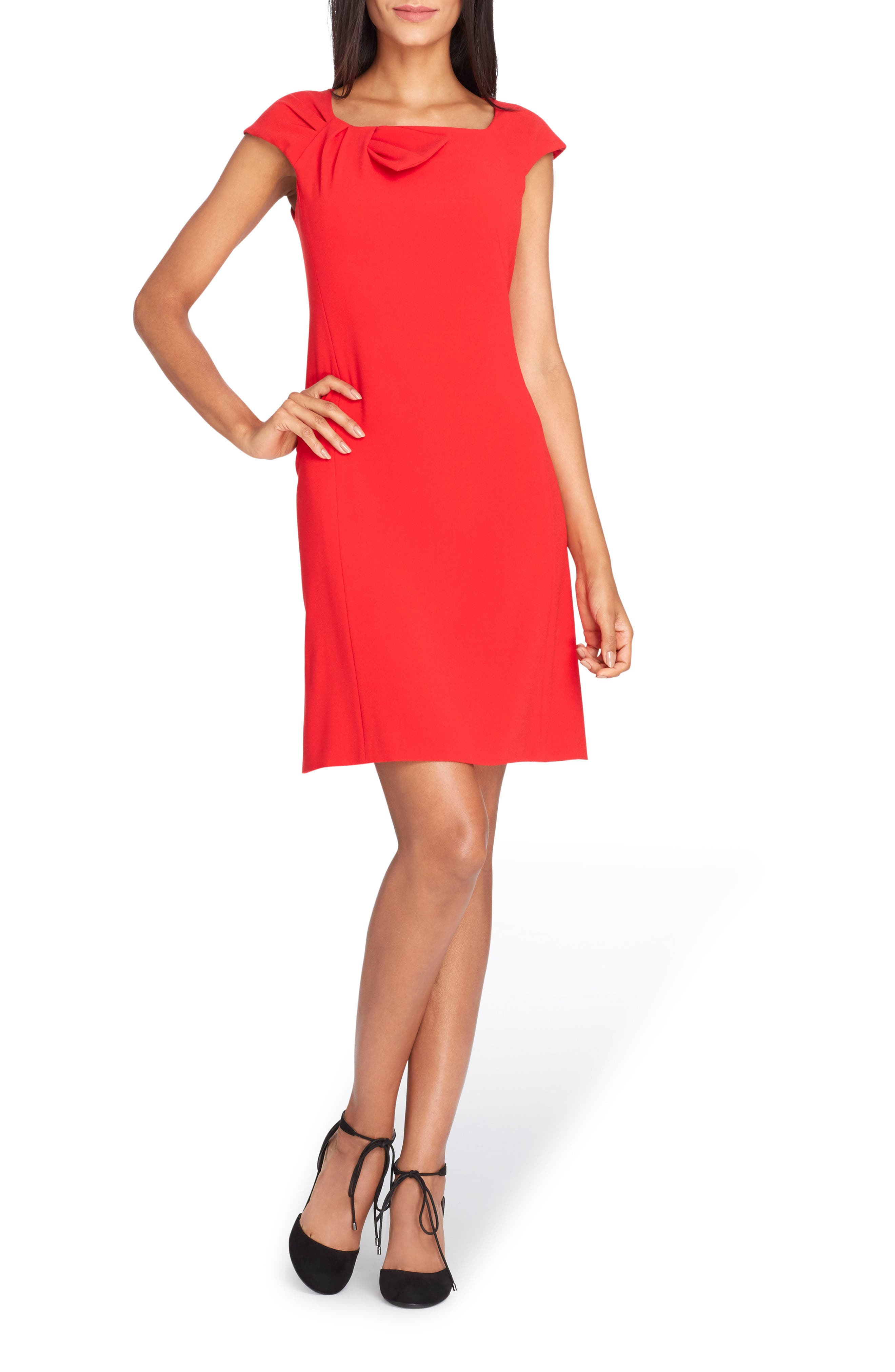 Bow Neck Sheath Dress,                             Main thumbnail 2, color,