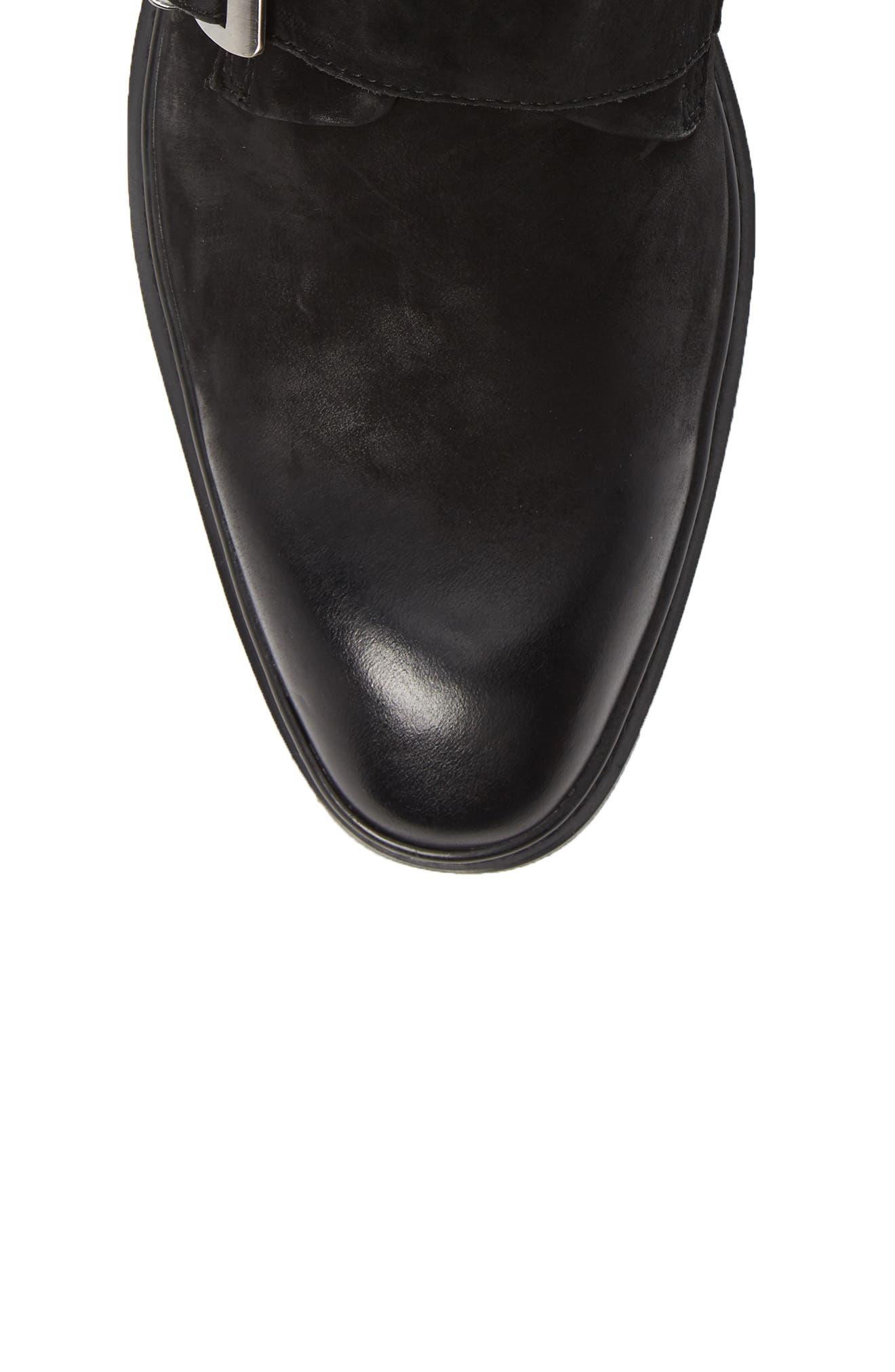 Triple Buckle Monk Boot,                             Alternate thumbnail 5, color,                             BLACK