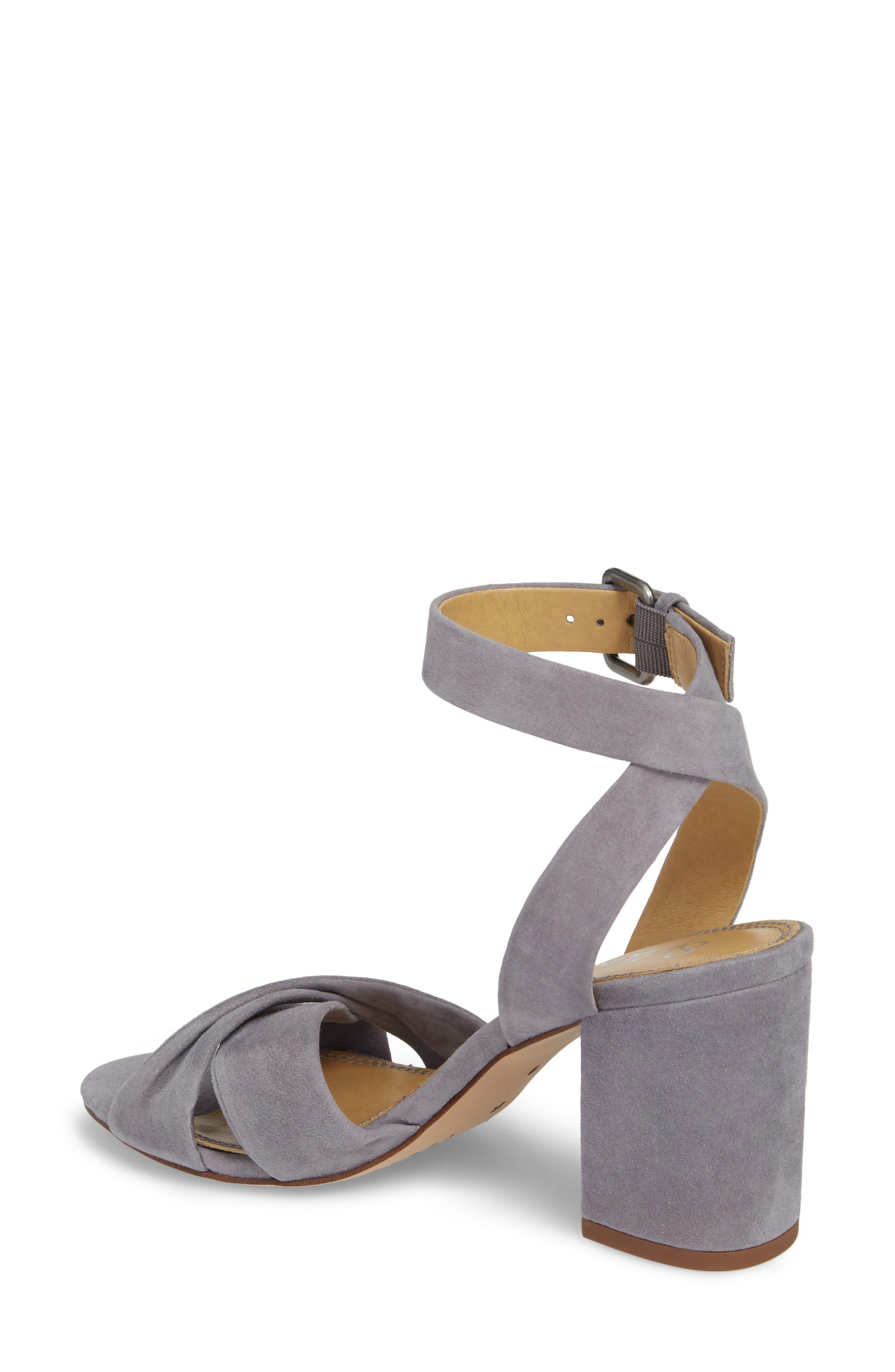 Fairy Block Heel Sandal,                             Alternate thumbnail 2, color,                             STEEL GREY SUEDE