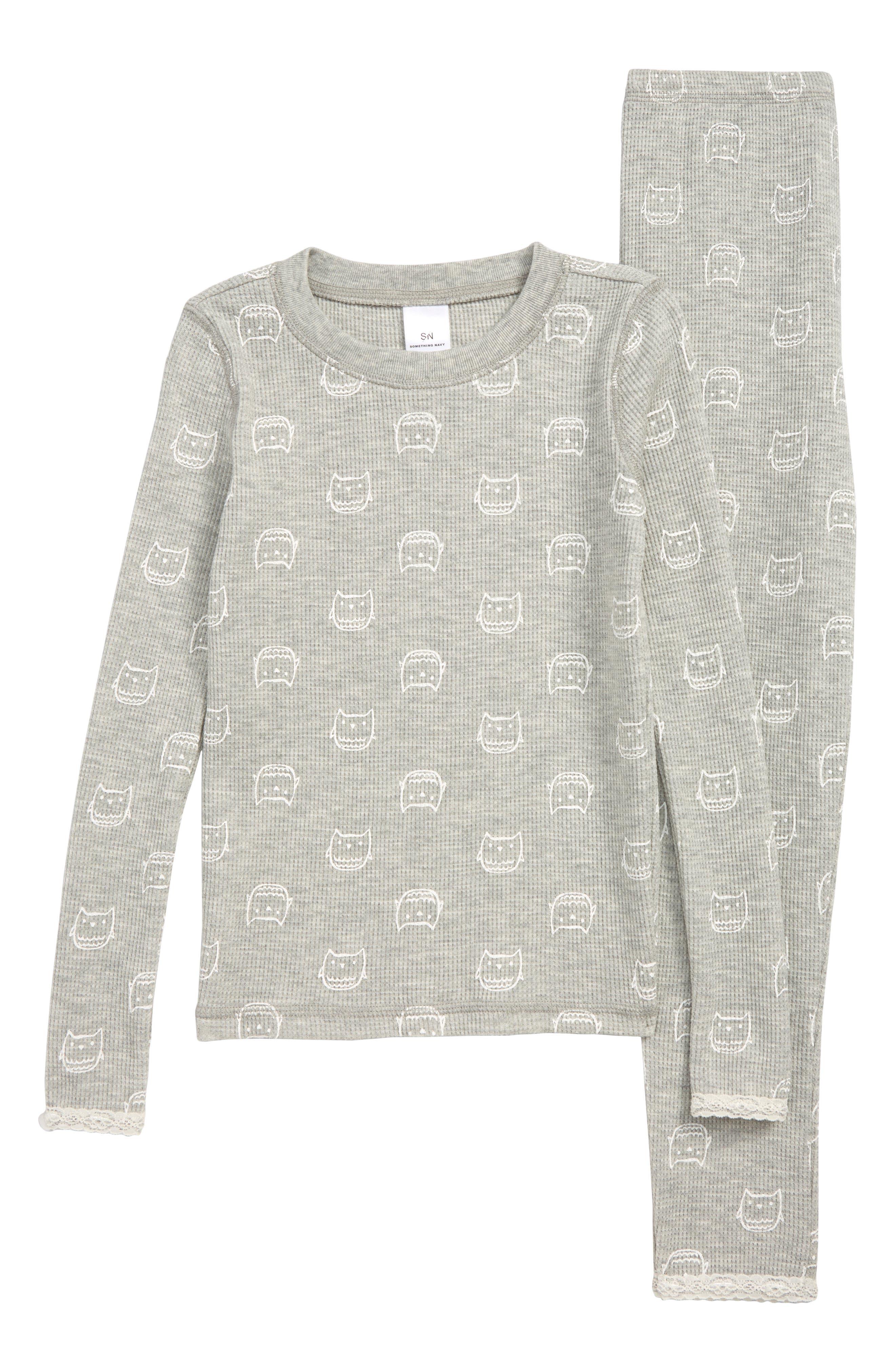 Toddler Girls Something Navy Lace Trim Fitted TwoPiece Pajamas Size 3T  Grey