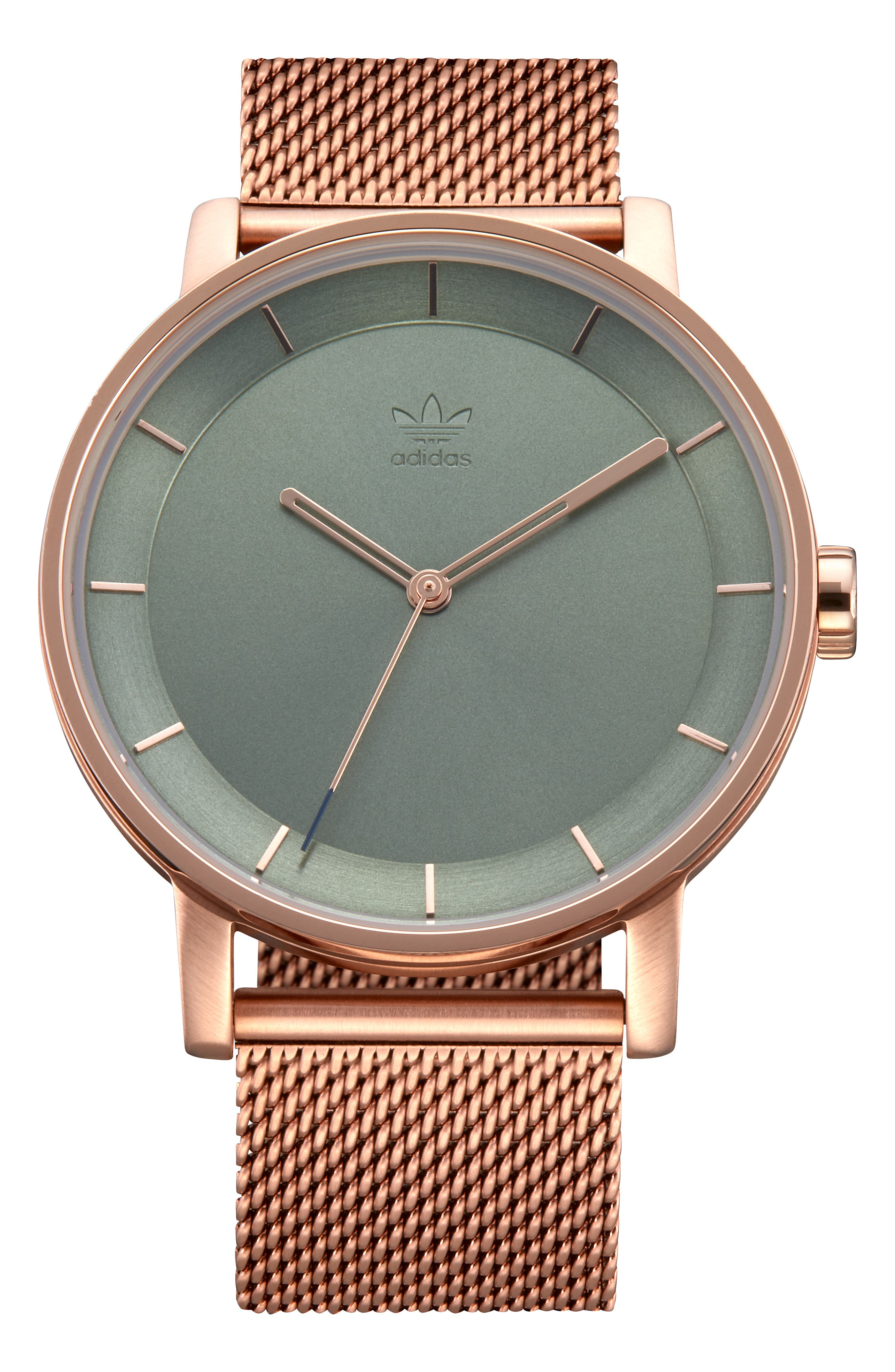 District Milanese Bracelet Watch, 40mm,                             Main thumbnail 1, color,                             BROWN/ GREEN/ ROSE GOLD
