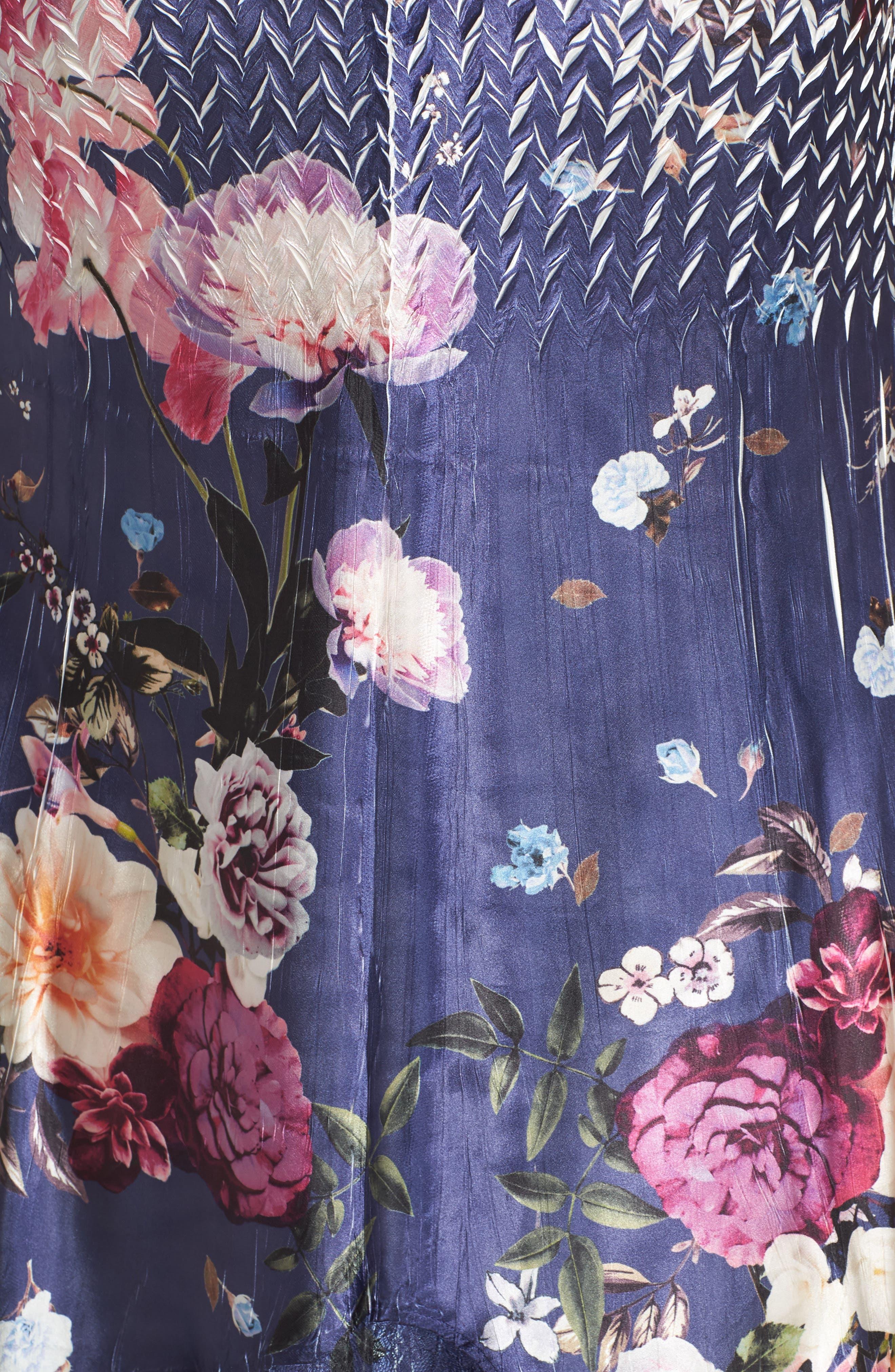 Koramov Floral Print Lace Inset Dress,                             Alternate thumbnail 5, color,                             500