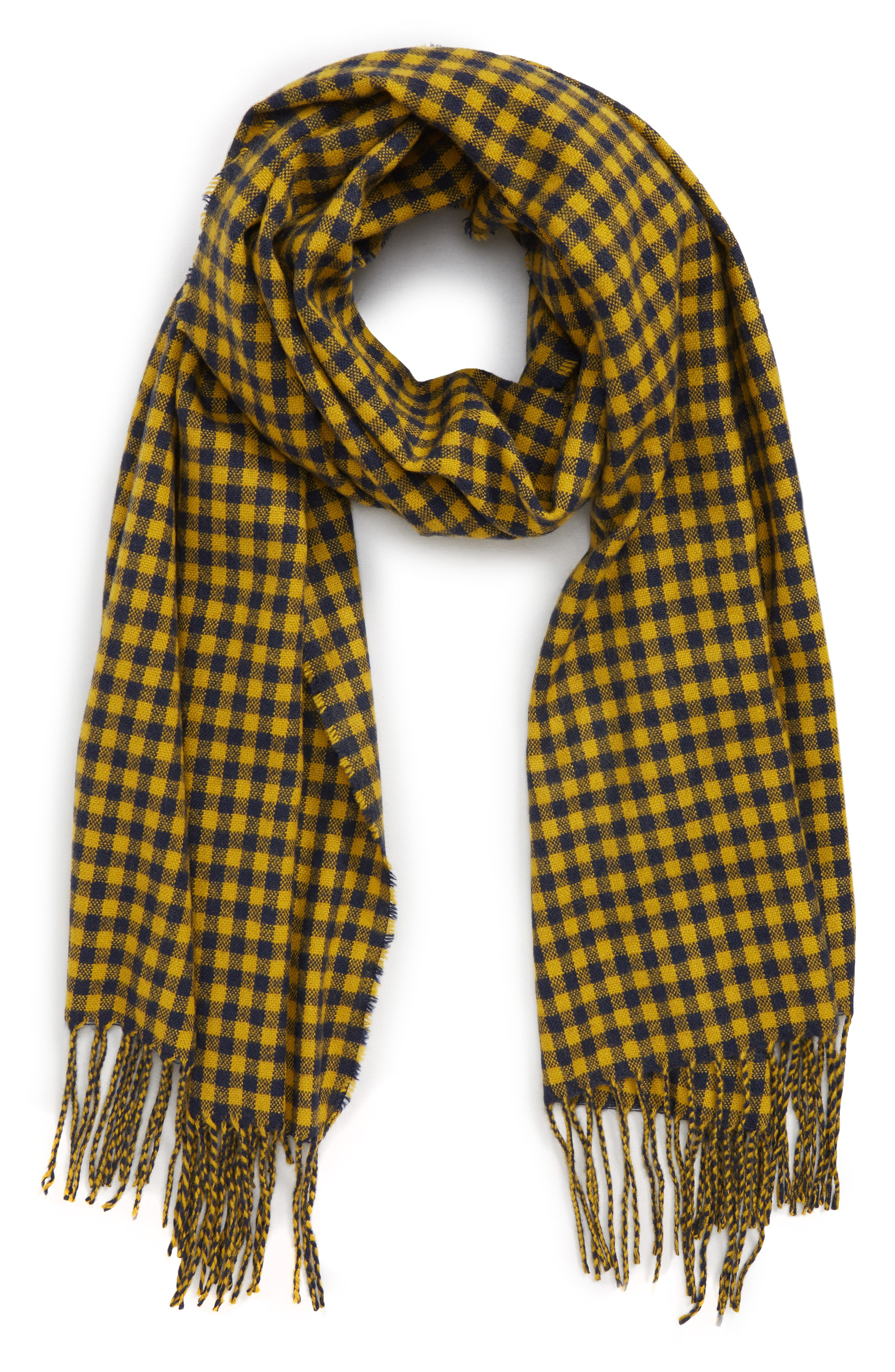 Two-Tone Checkered Scarf,                         Main,                         color, YELLOW MULTI