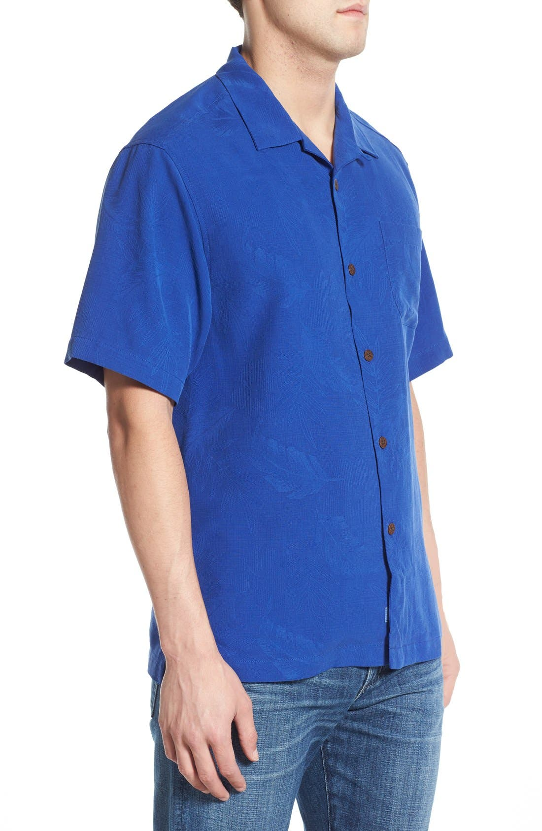 Rio Fronds Short Sleeve Silk Sport Shirt,                             Alternate thumbnail 42, color,