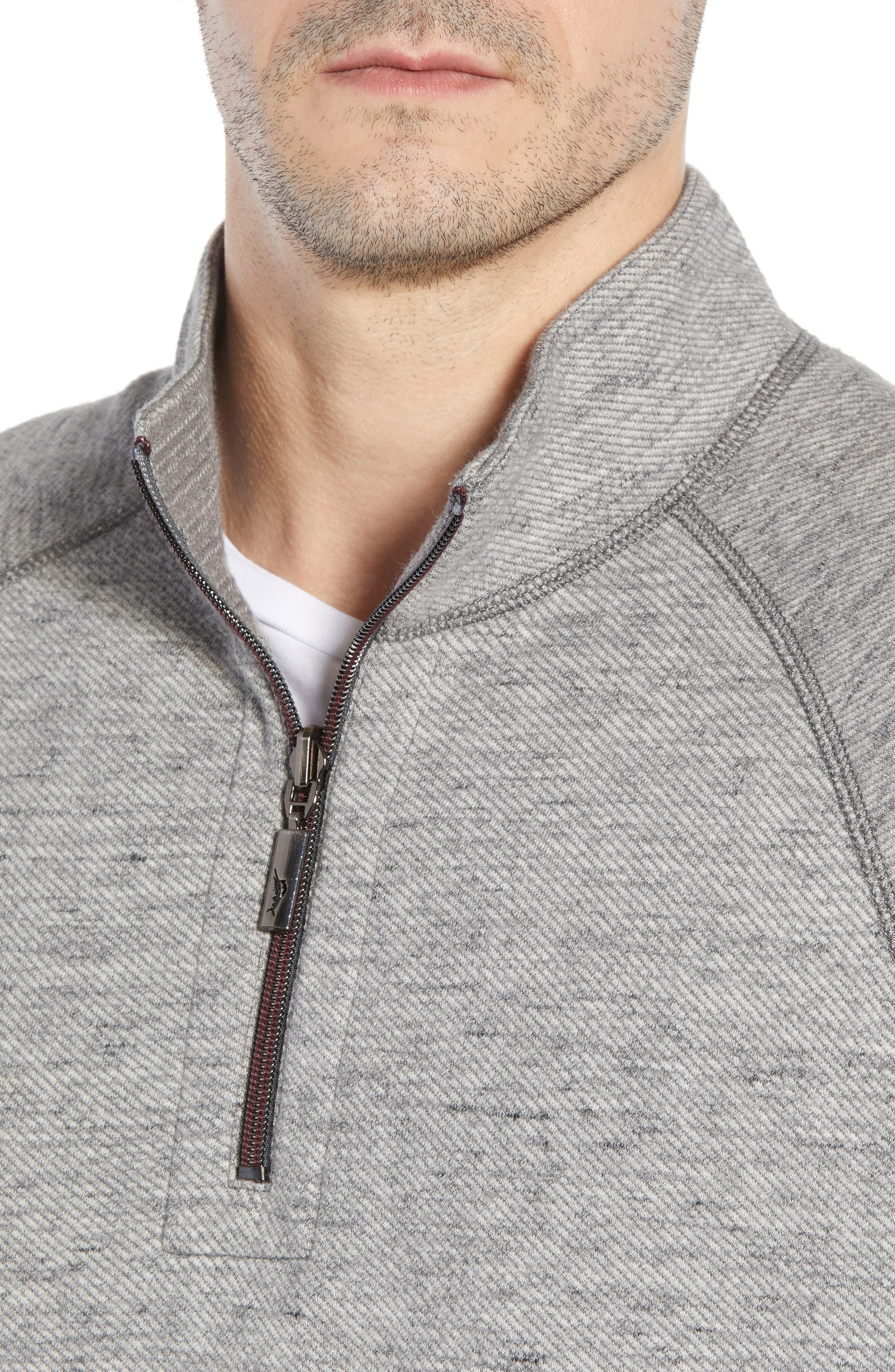 On the Doubles Mock Neck Quarter Zip Pullover,                             Alternate thumbnail 6, color,                             STEEL WOOL HEATHER