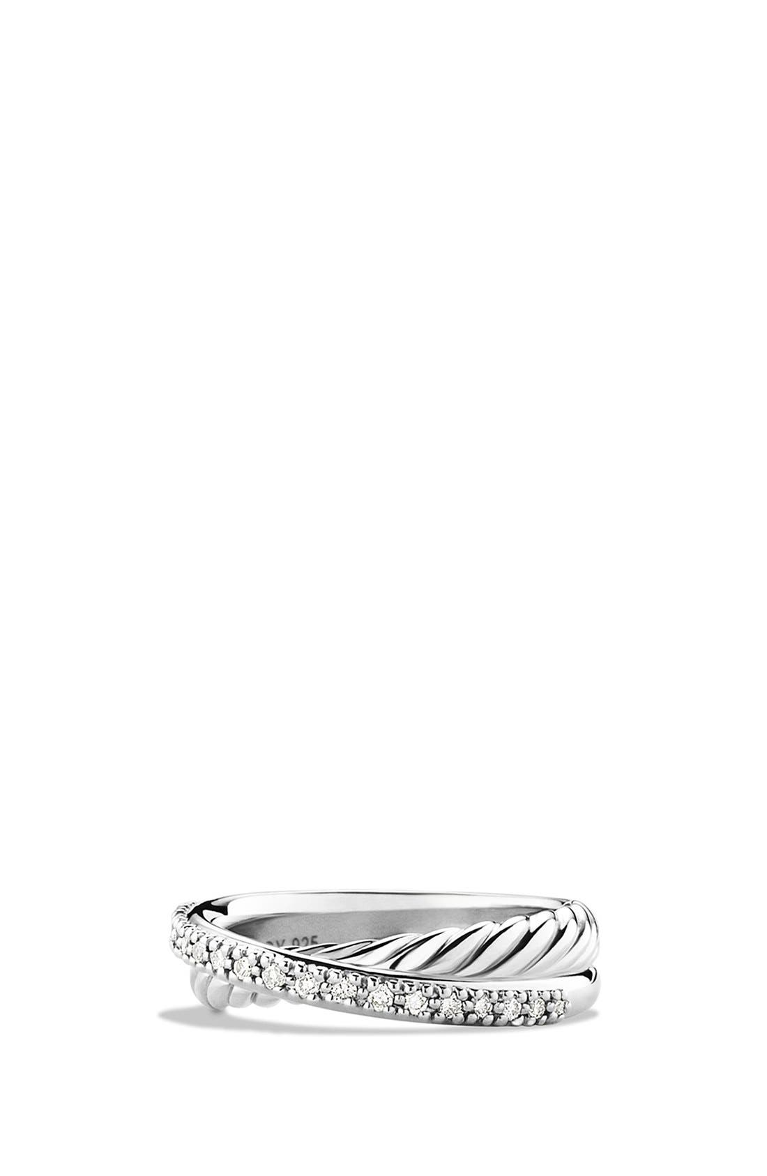 'Crossover' Ring with Diamonds,                             Main thumbnail 1, color,                             SILVER