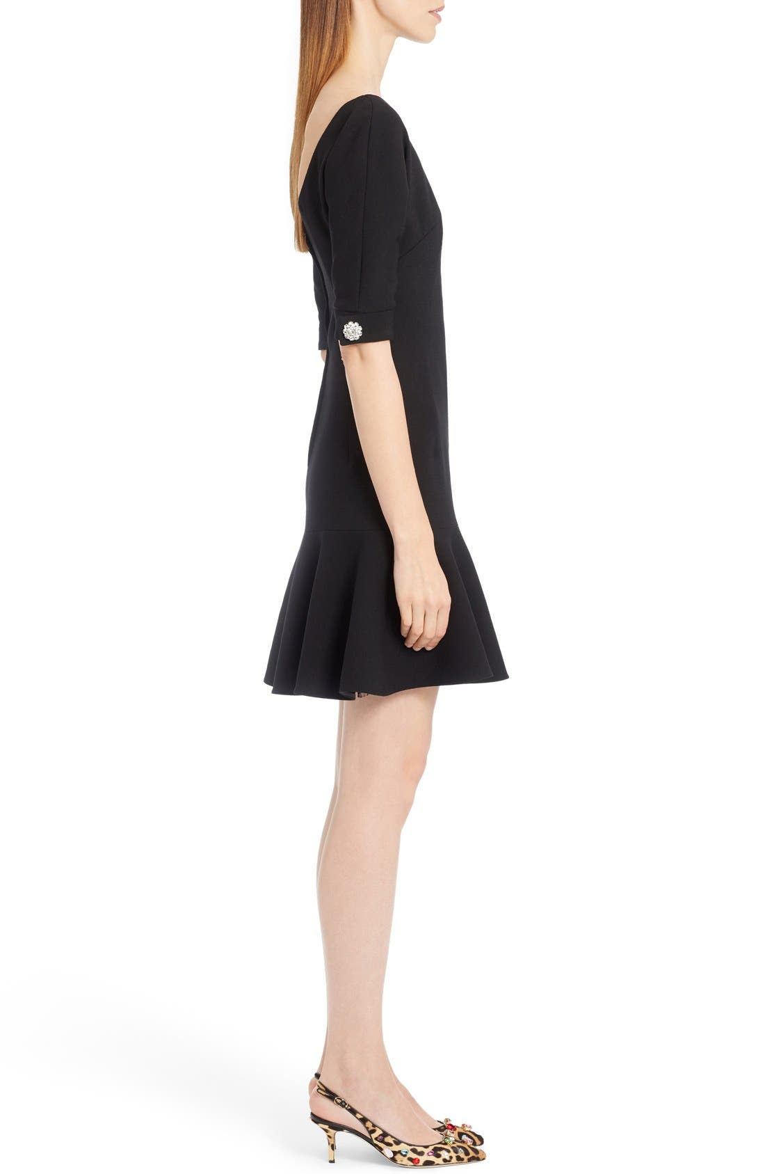 Stretch Wool Fit & Flare Dress,                             Alternate thumbnail 5, color,                             010