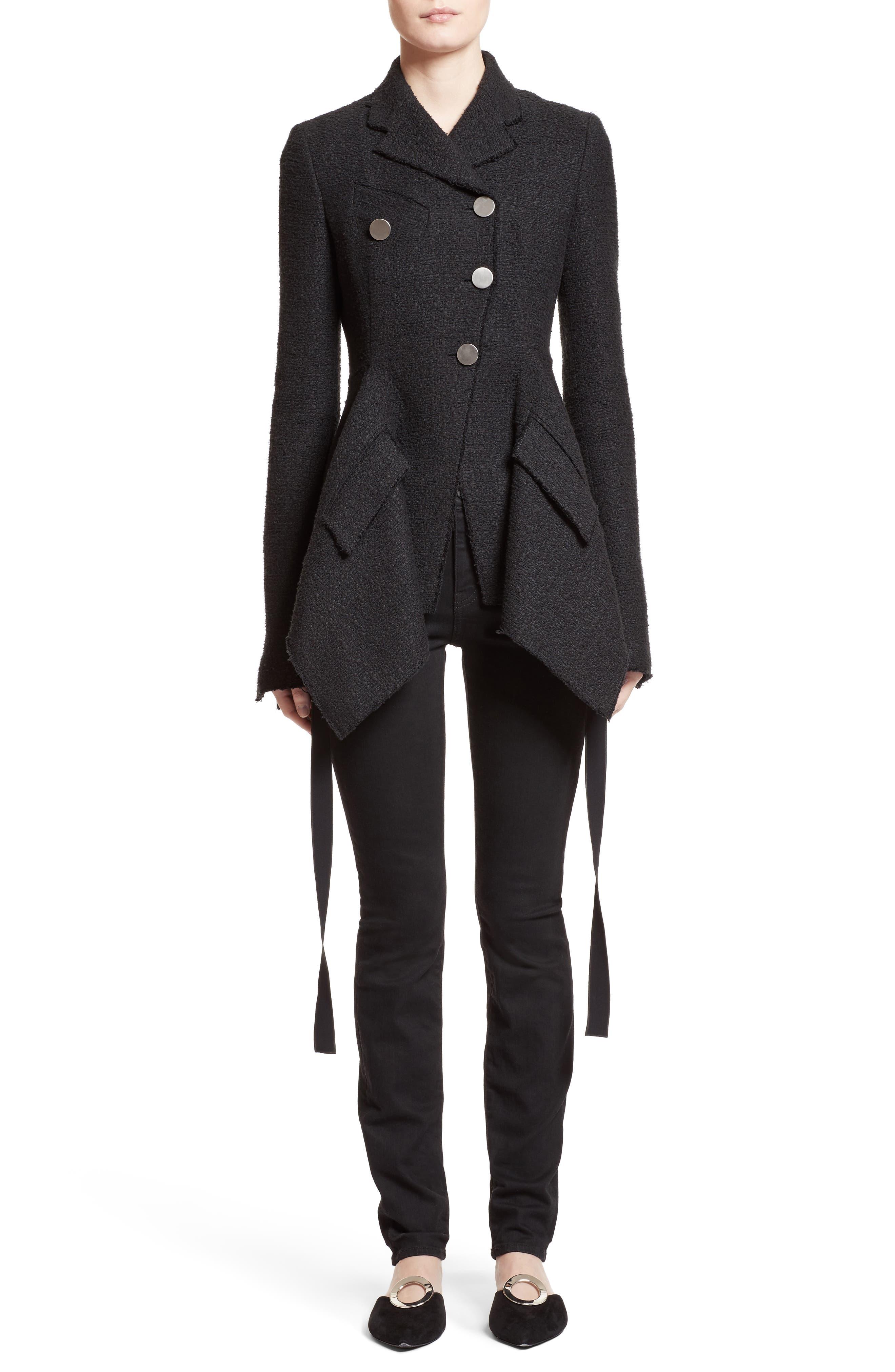Asymmetrical Tweed Jacket,                             Main thumbnail 1, color,                             001