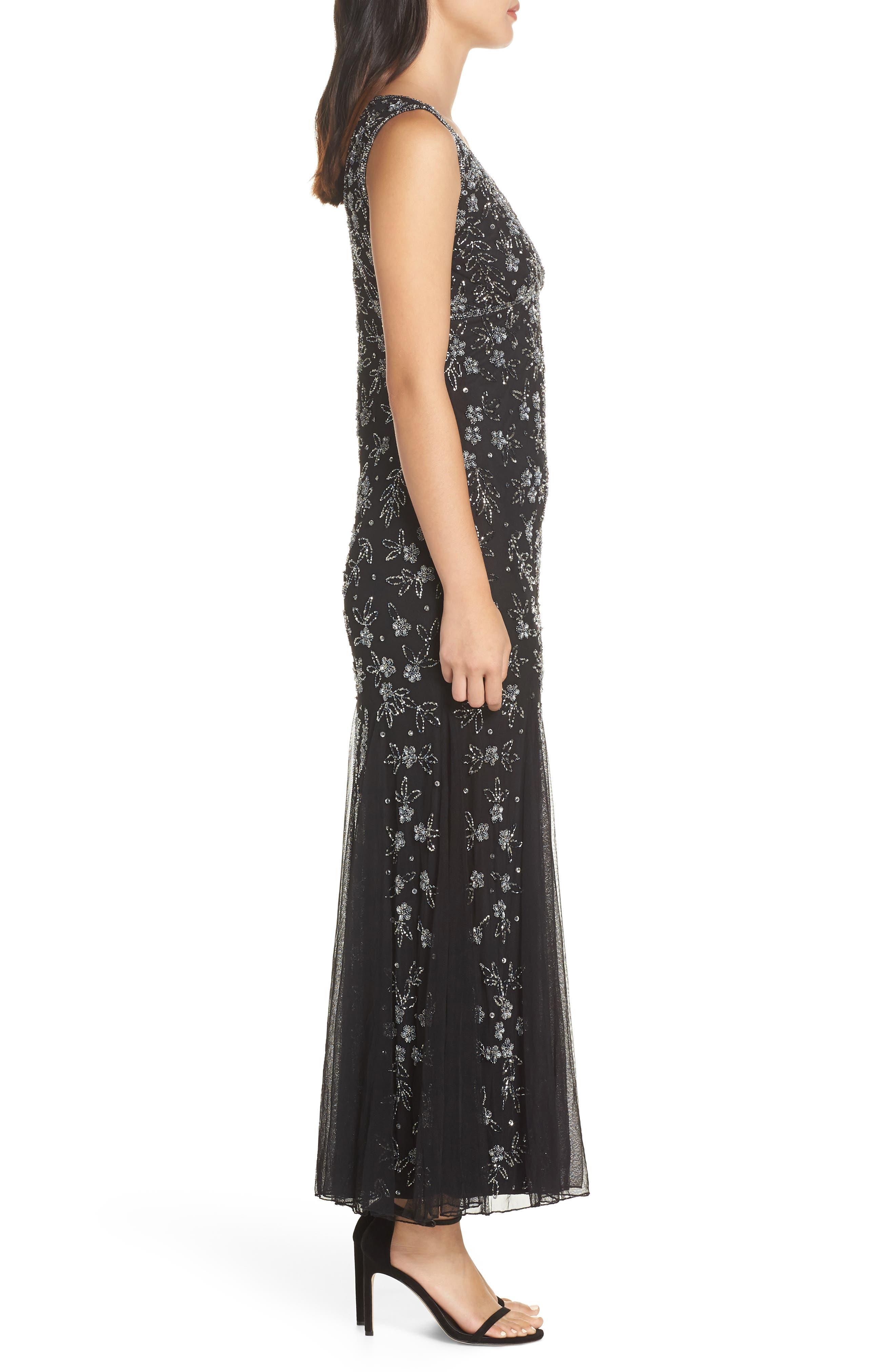 Beaded Godet Gown,                             Alternate thumbnail 3, color,                             BLACK