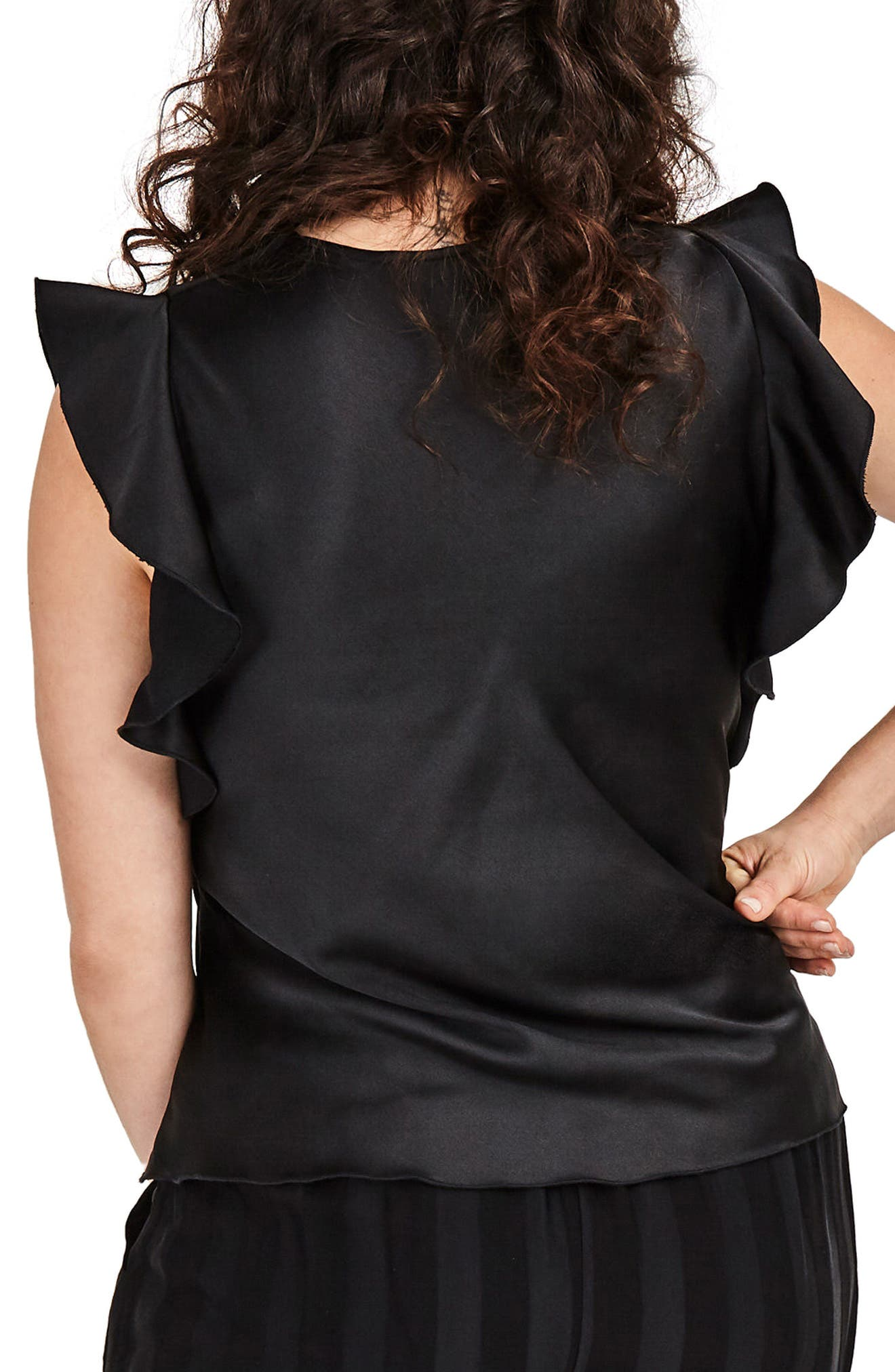Black Satin Ruffle Top,                             Alternate thumbnail 2, color,                             001