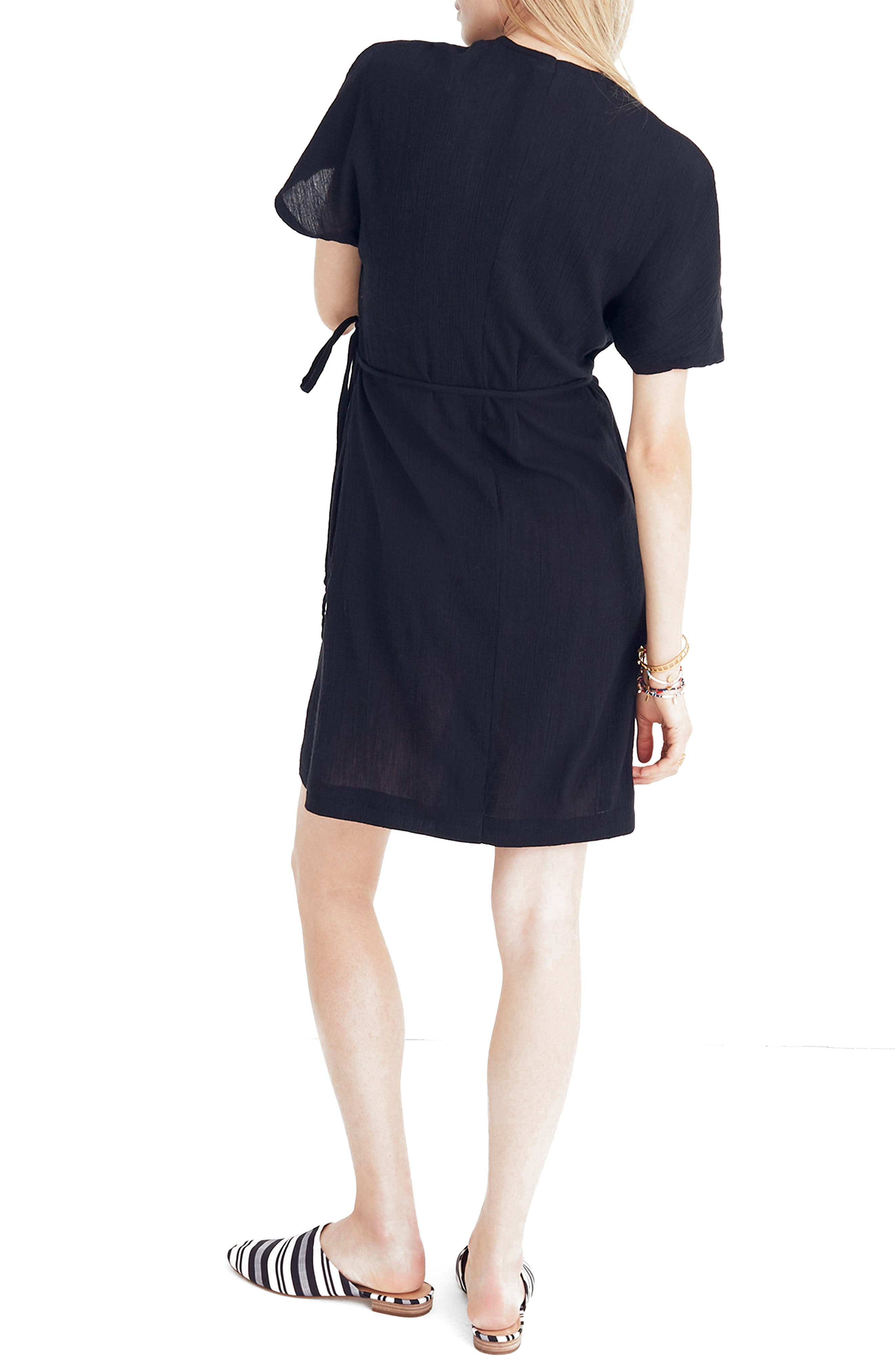 MADEWELL,                             Gauze Wrap Dress,                             Alternate thumbnail 2, color,                             001