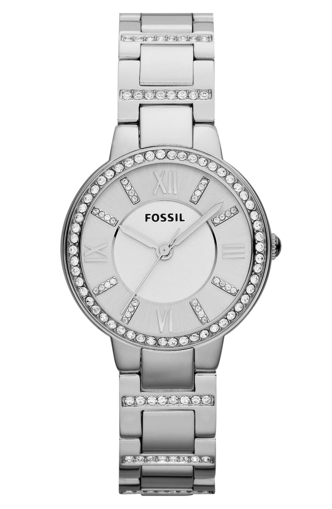 'Virginia' Crystal Accent Bracelet Watch, 30mm,                         Main,                         color, SILVER