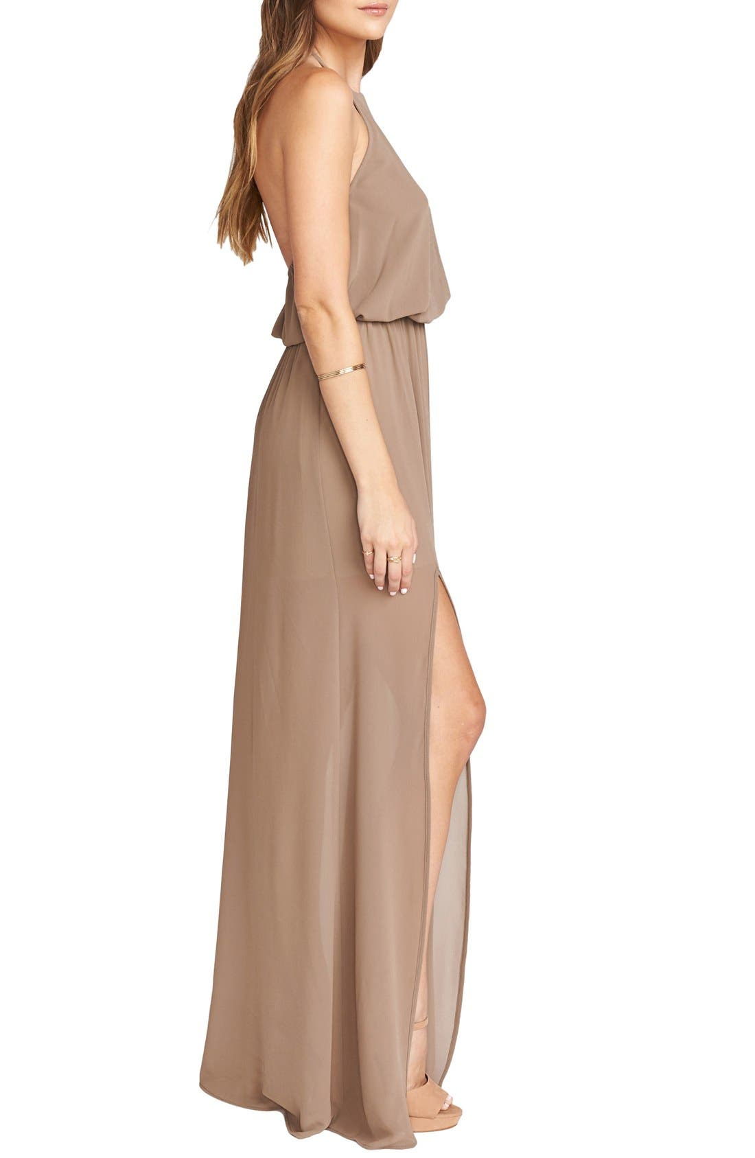 Heather Chiffon Halter Gown,                             Alternate thumbnail 28, color,