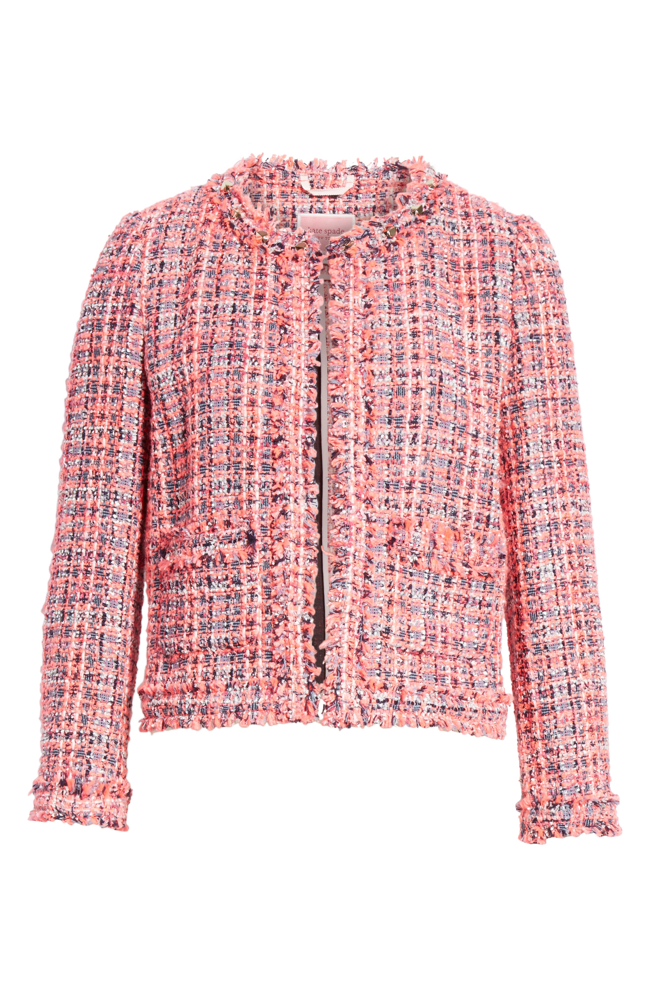 stud trim tweed jacket,                             Alternate thumbnail 5, color,                             PERFECT PEONY
