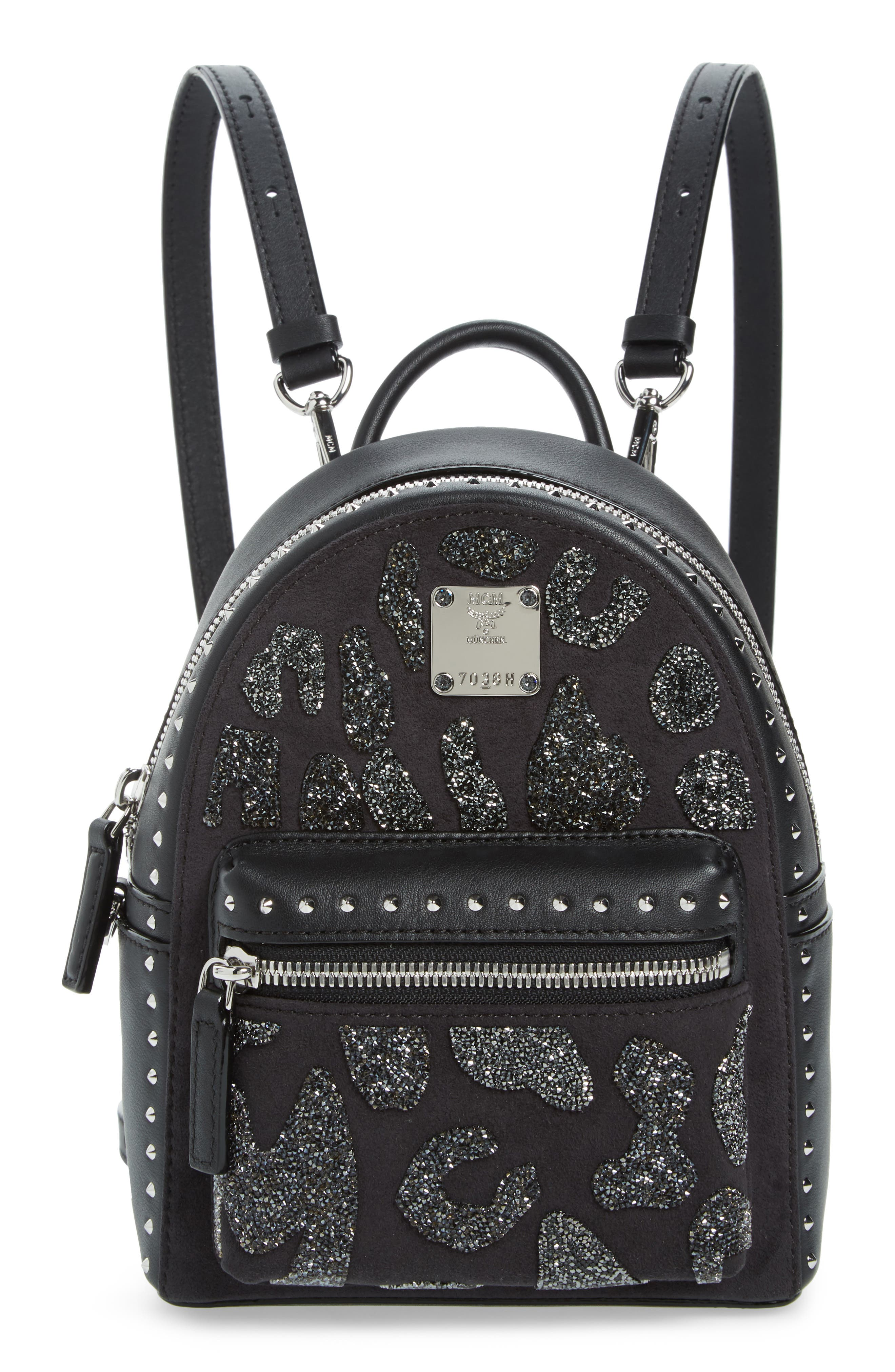 MCM,                             X Mini Stark Crystal Glitter Coated Canvas Backpack,                             Main thumbnail 1, color,                             BLACK
