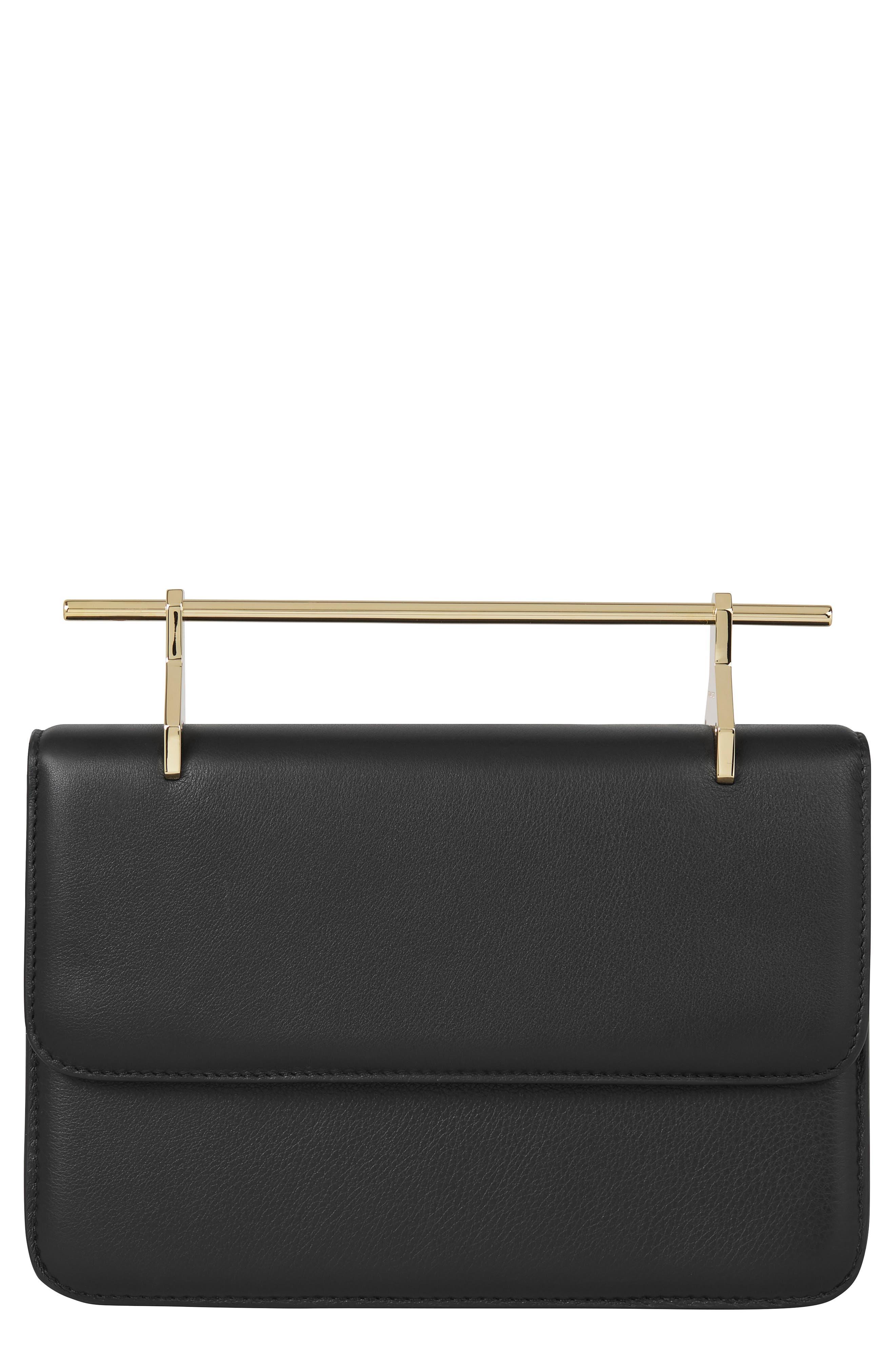 La Fleur du Mal Leather Shoulder Bag,                         Main,                         color, BLACK/ GOLD