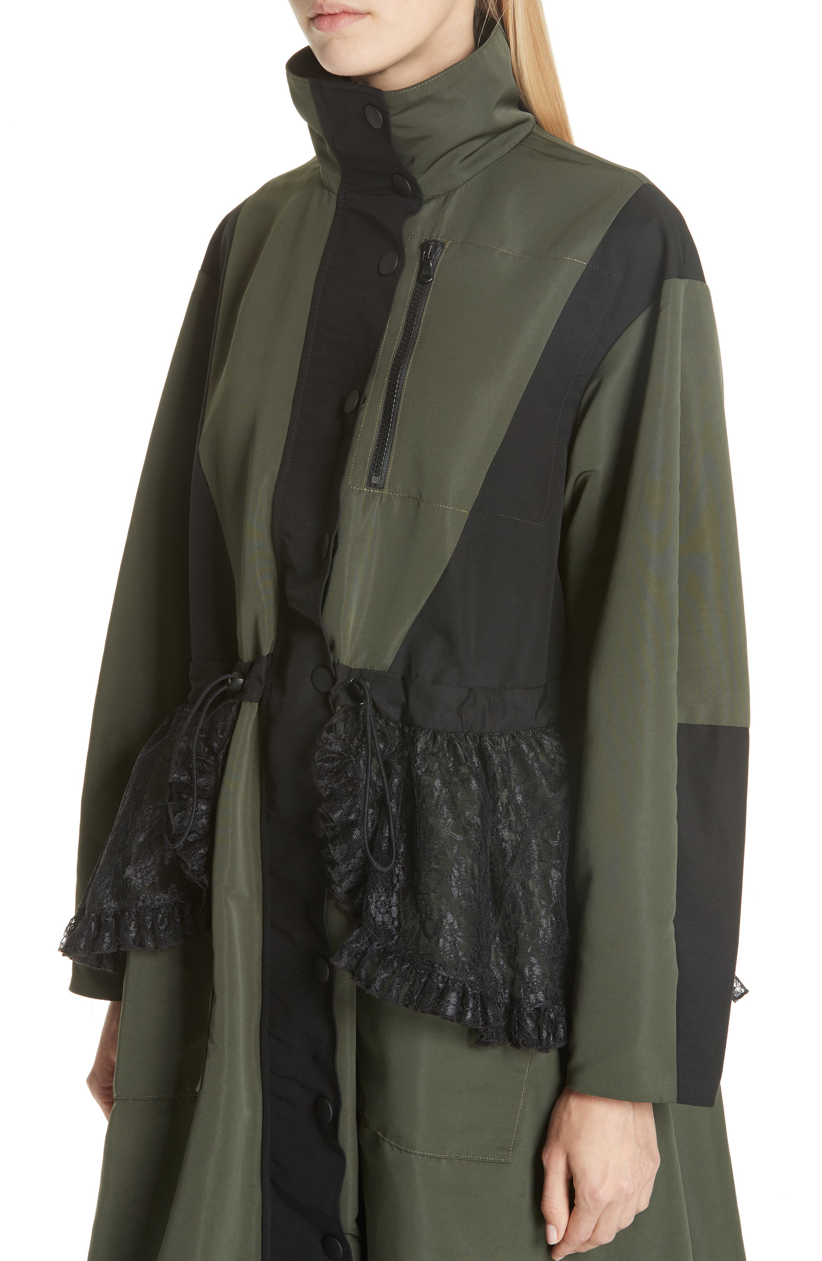 Lace Overlay Hooded Coat,                             Alternate thumbnail 2, color,                             OLIVE BLACK