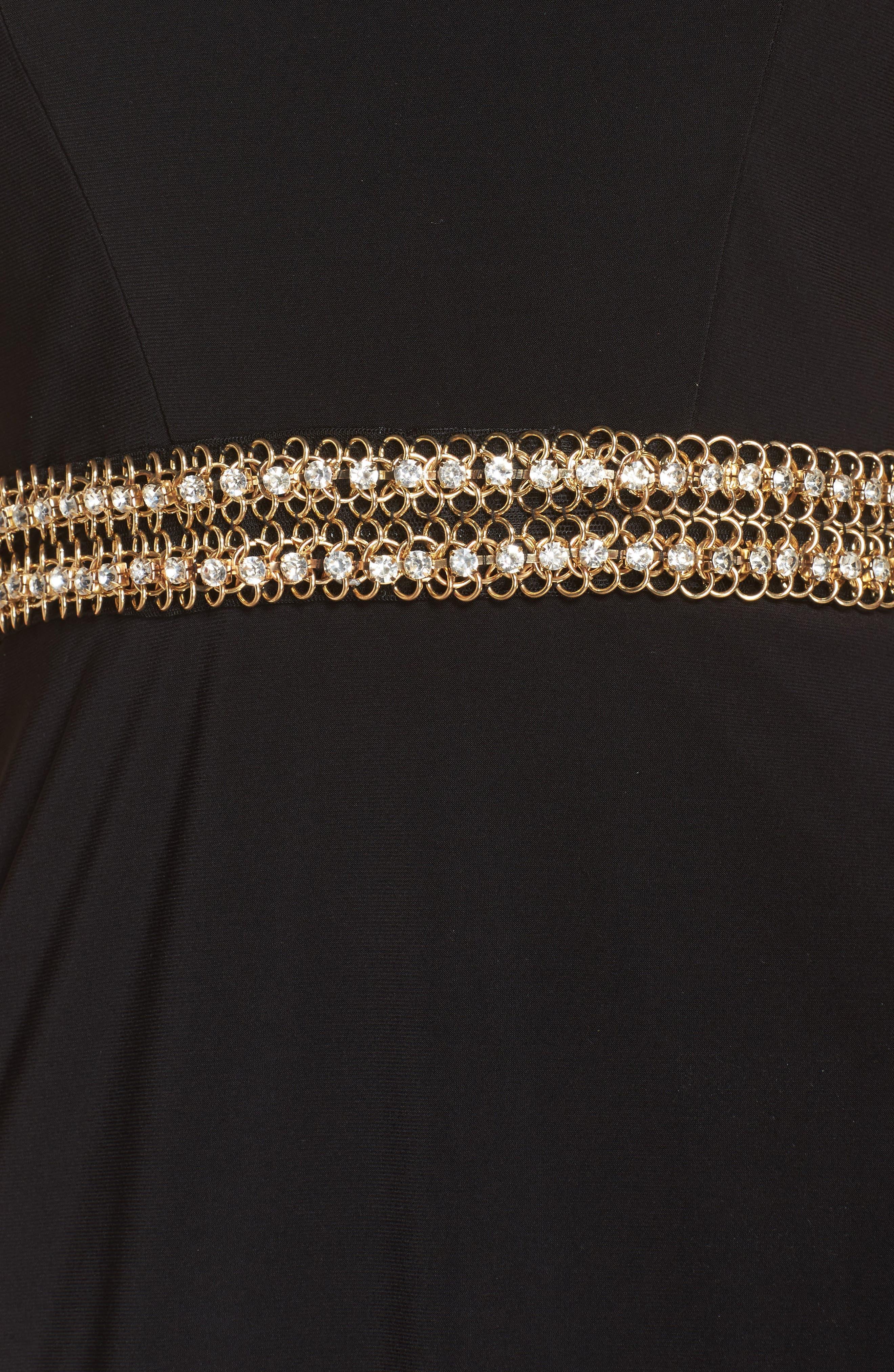 Embellished Waist Gown,                             Alternate thumbnail 5, color,                             BLACK