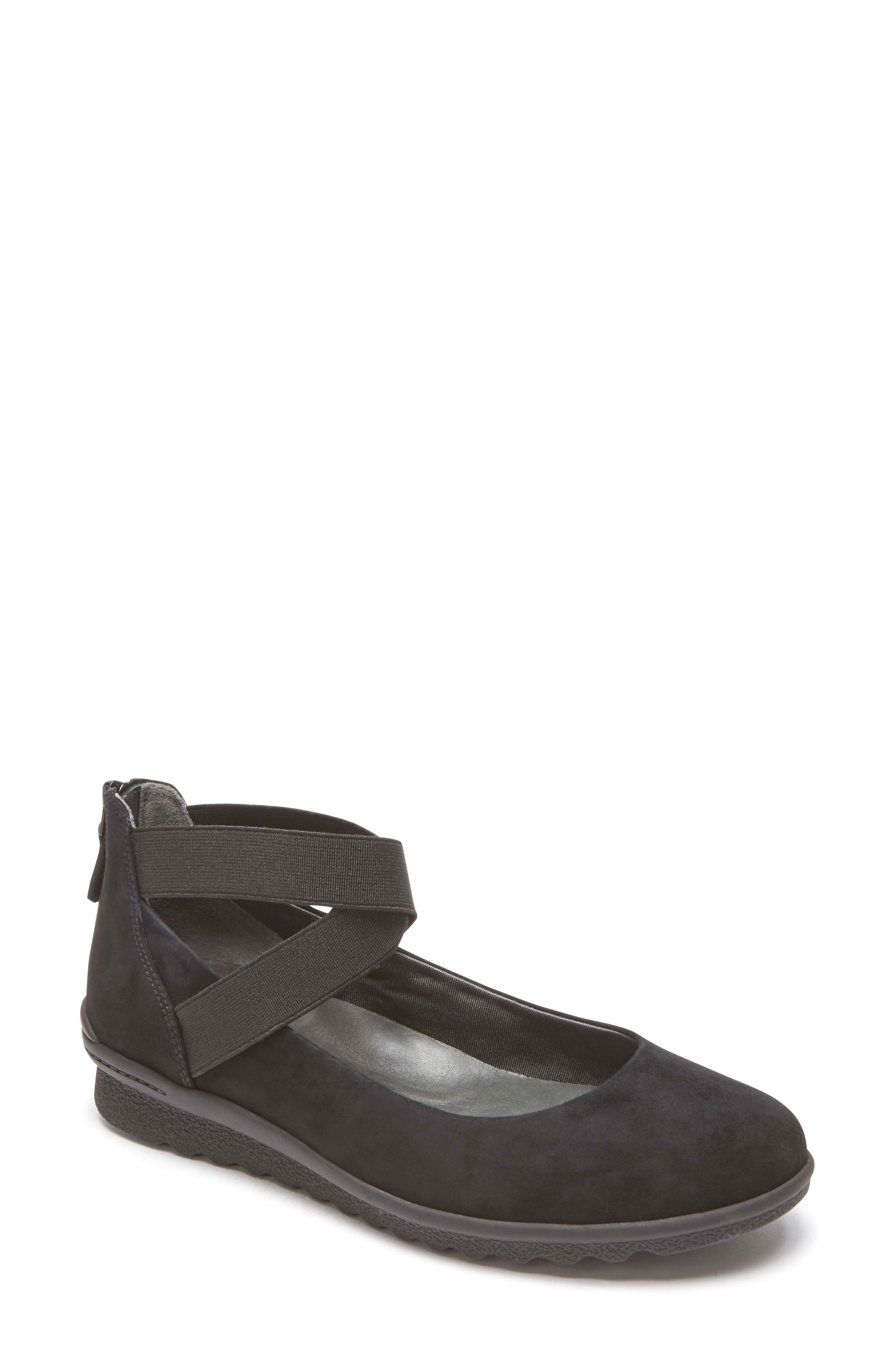 Chenole Cross Strap Flat,                         Main,                         color, BLACK SUEDE