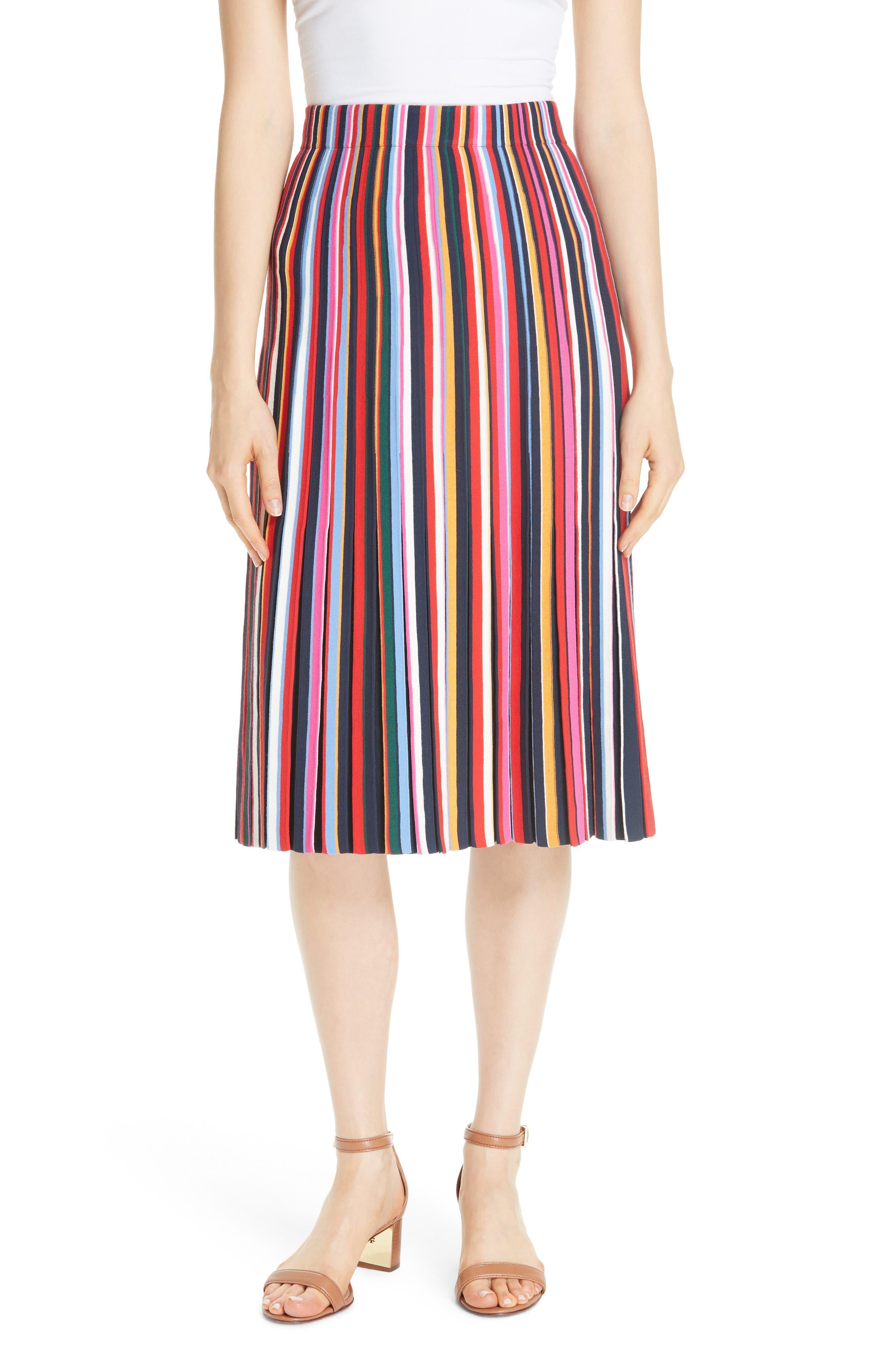 Ellis Stripe Pleated Skirt,                         Main,                         color, 405