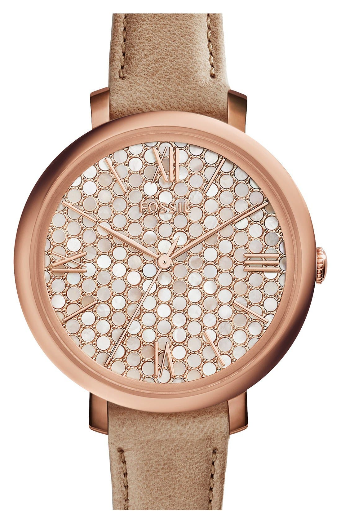 'Jacqueline' Round Leather Strap Watch, 36mm,                             Main thumbnail 10, color,