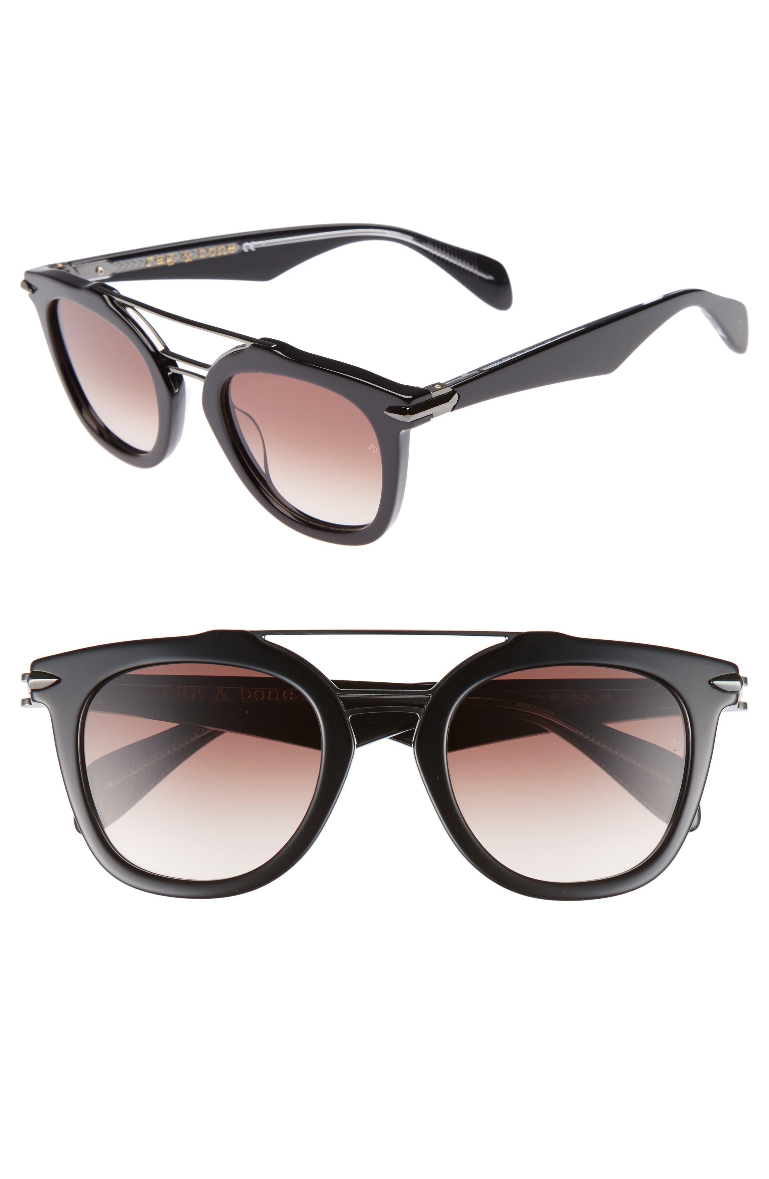 50mm Round Aviator Sunglasses,                         Main,                         color, BLACK