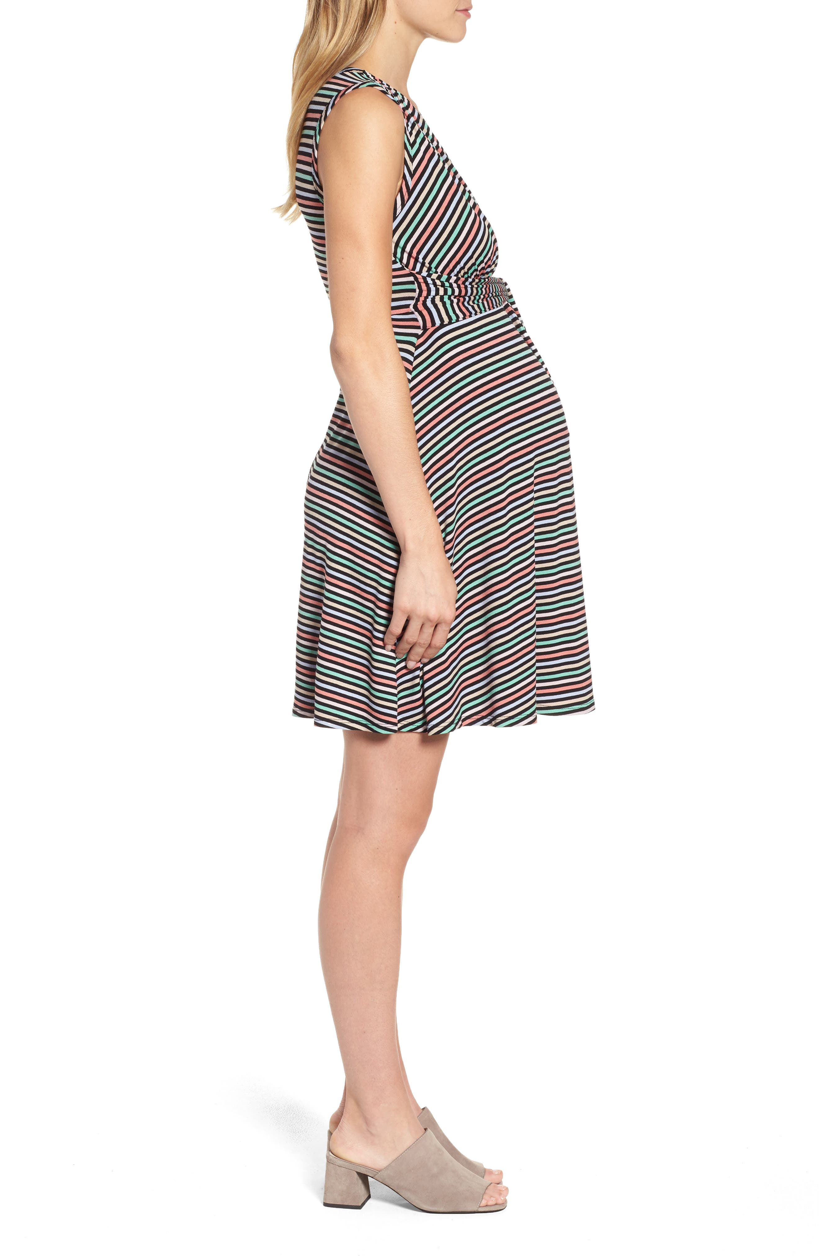 Tie Front Maternity Dress,                             Alternate thumbnail 4, color,                             CANDY STRIPES