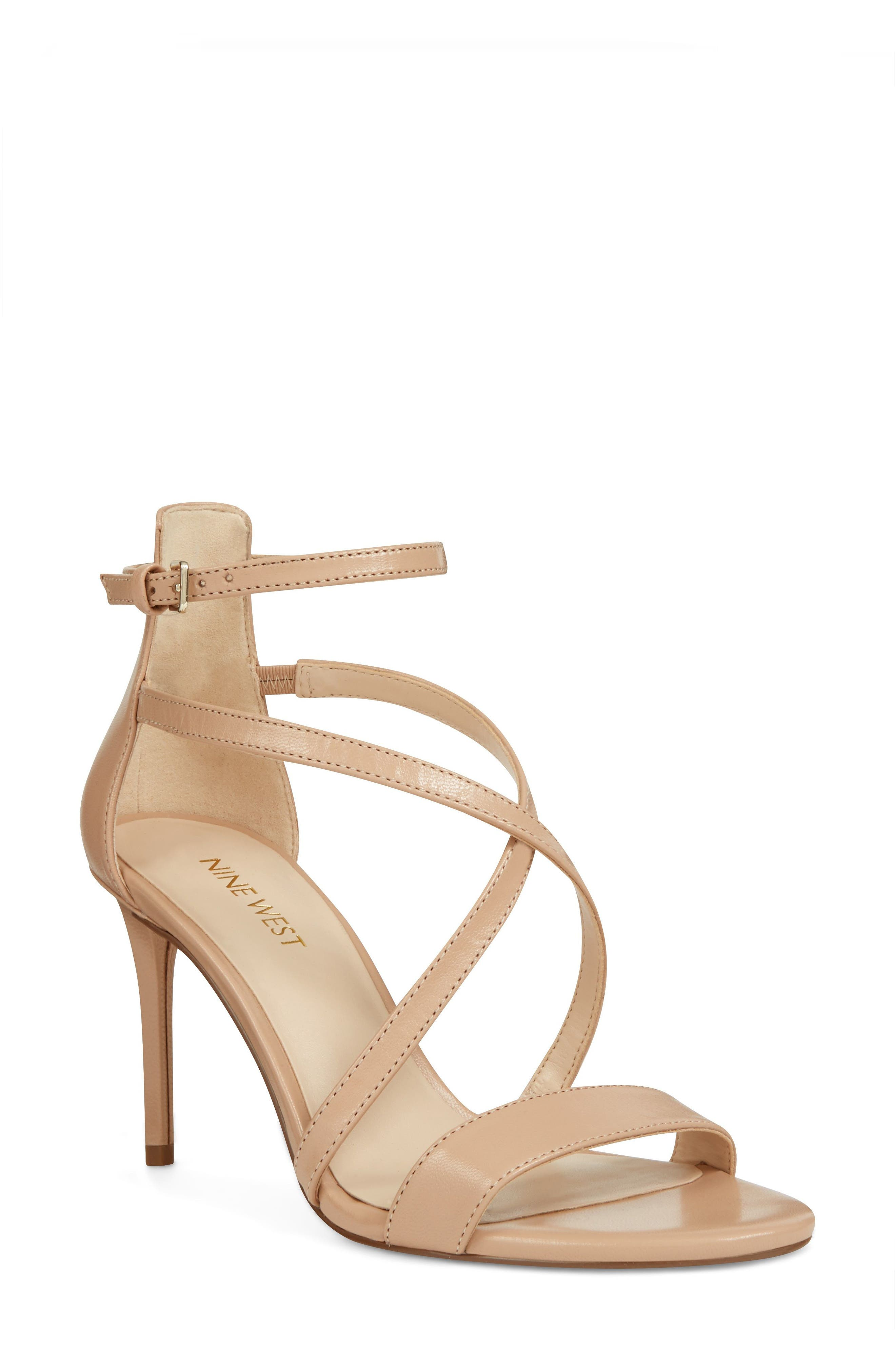 Retail Therapy Strappy Sandal,                             Main thumbnail 1, color,                             NATURAL LEATHER