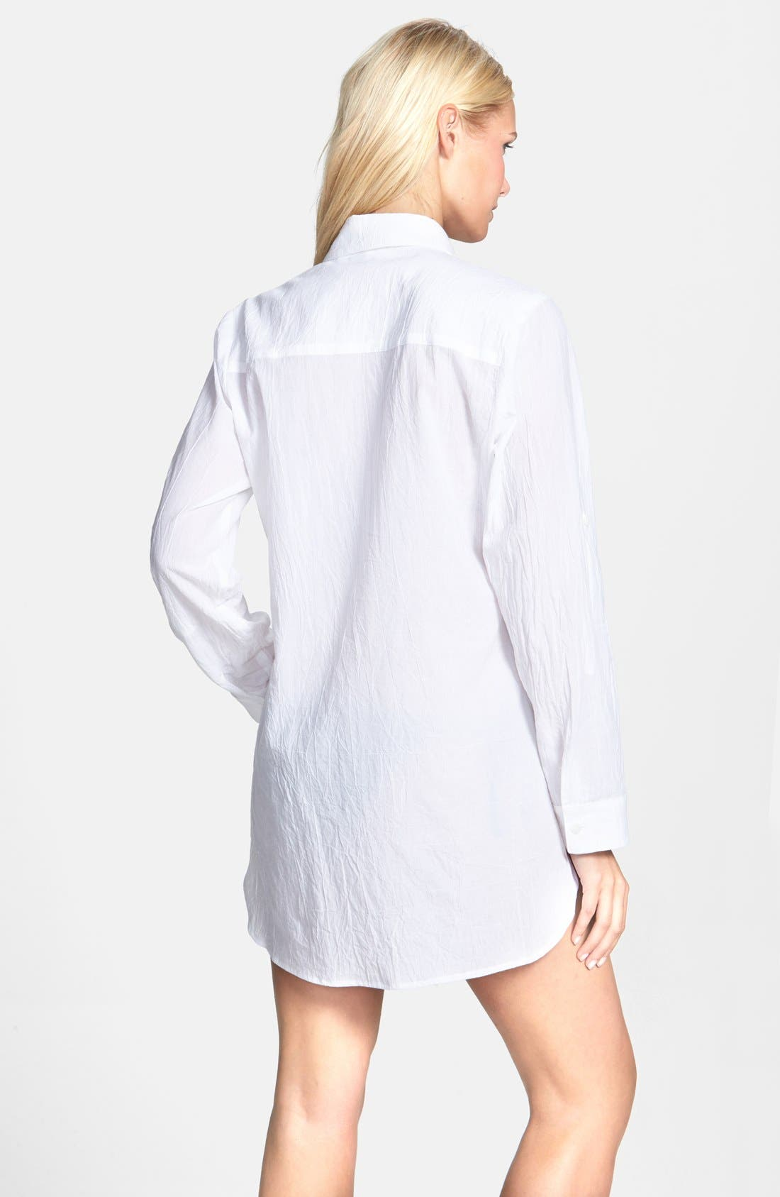 Boyfriend Shirt Cover-Up,                             Alternate thumbnail 8, color,                             WHITE/ WHITE