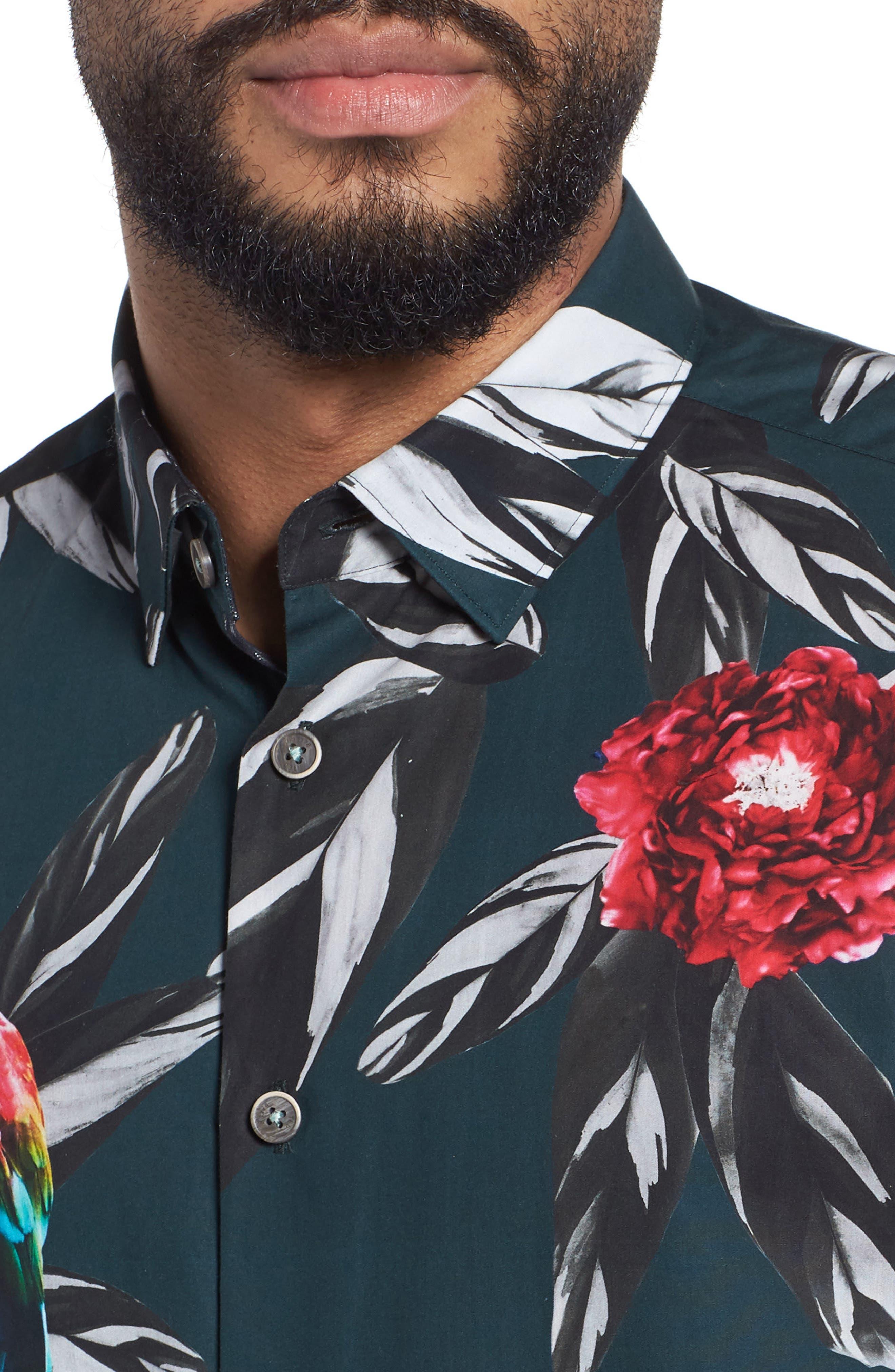 Parrot Print Short Sleeve Sport Shirt,                             Alternate thumbnail 4, color,                             301