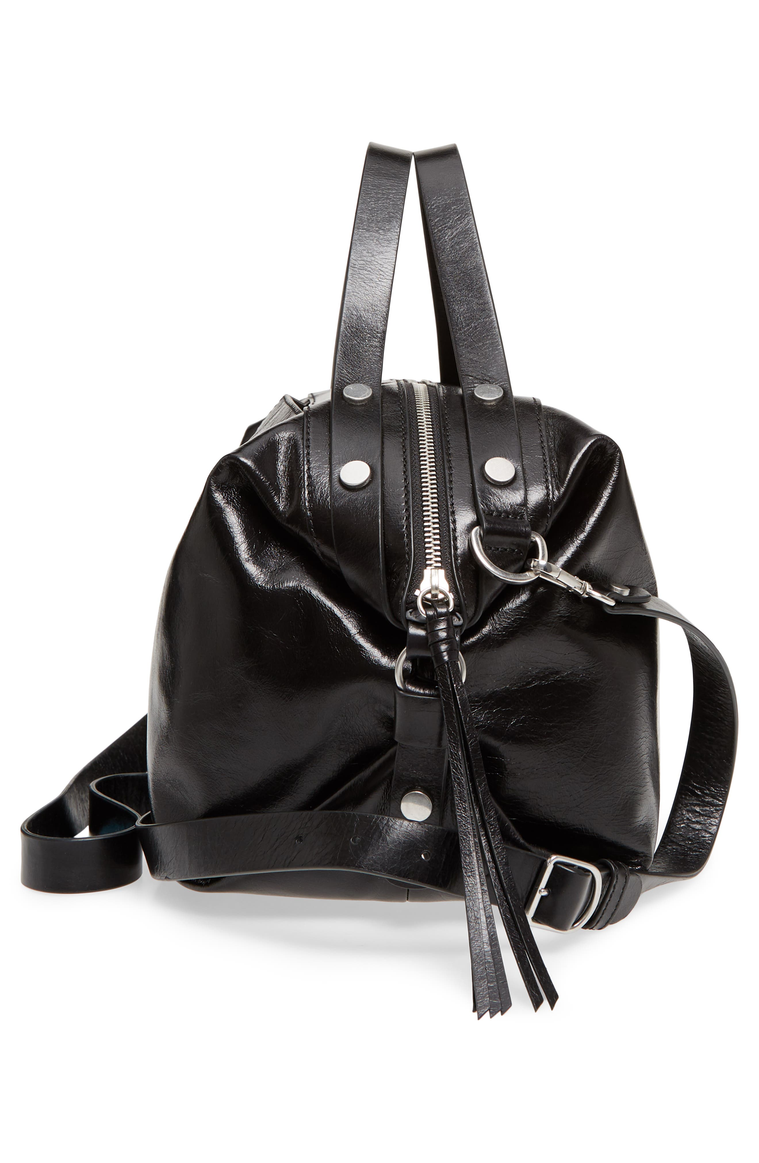 Perry Glazed Leather Convertible Satchel,                             Alternate thumbnail 5, color,                             BLACK