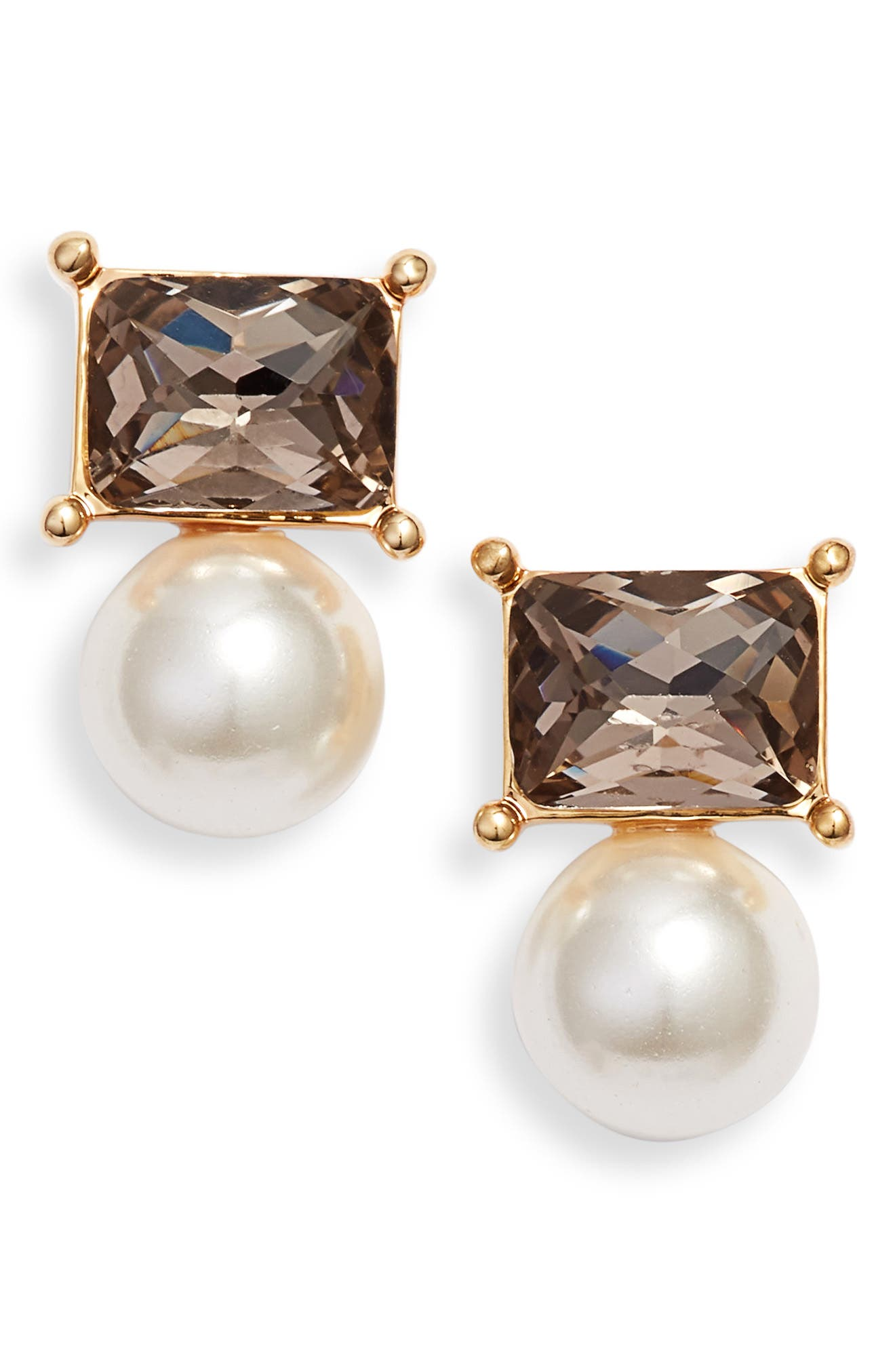 Imitation Pearl Stud Earrings, Main, color, GOLD/ PEARL
