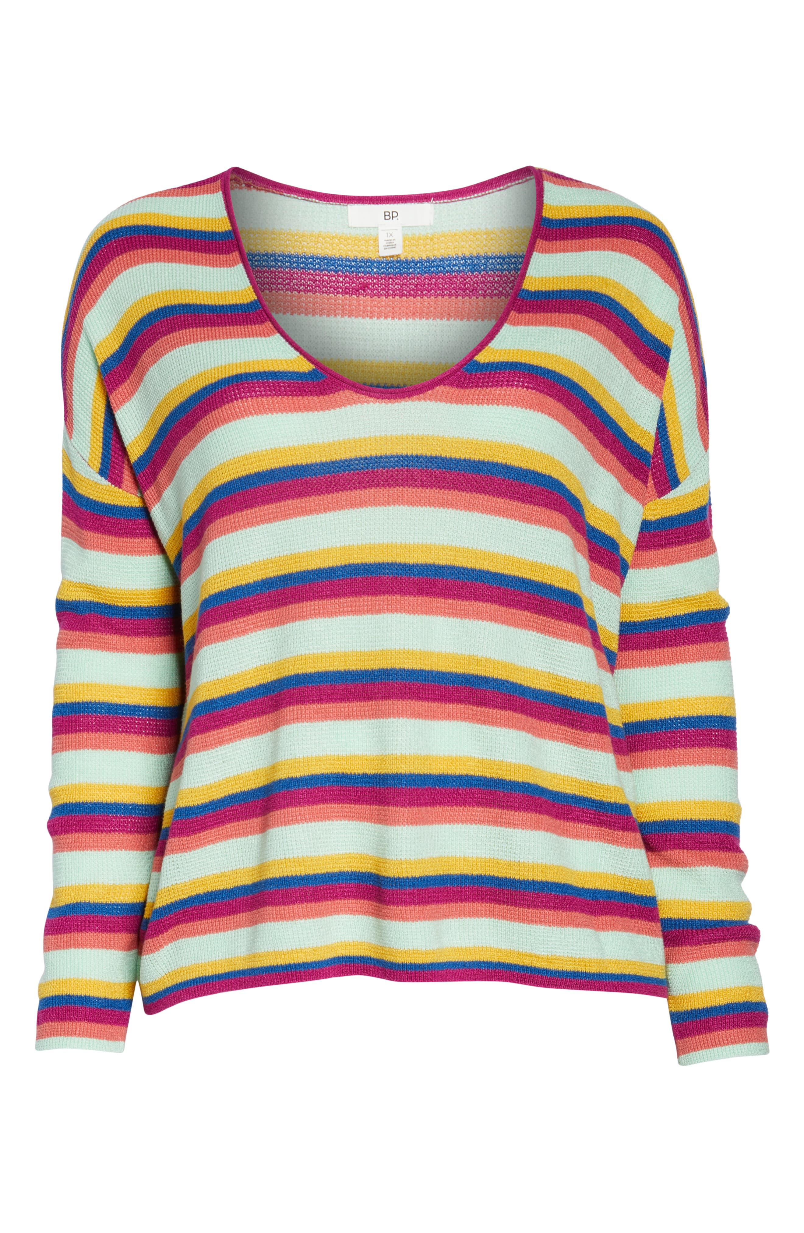 BP.,                             Stripe Thermal Stitch Sweater,                             Alternate thumbnail 12, color,                             PINK YARROW EMMA STRIPE