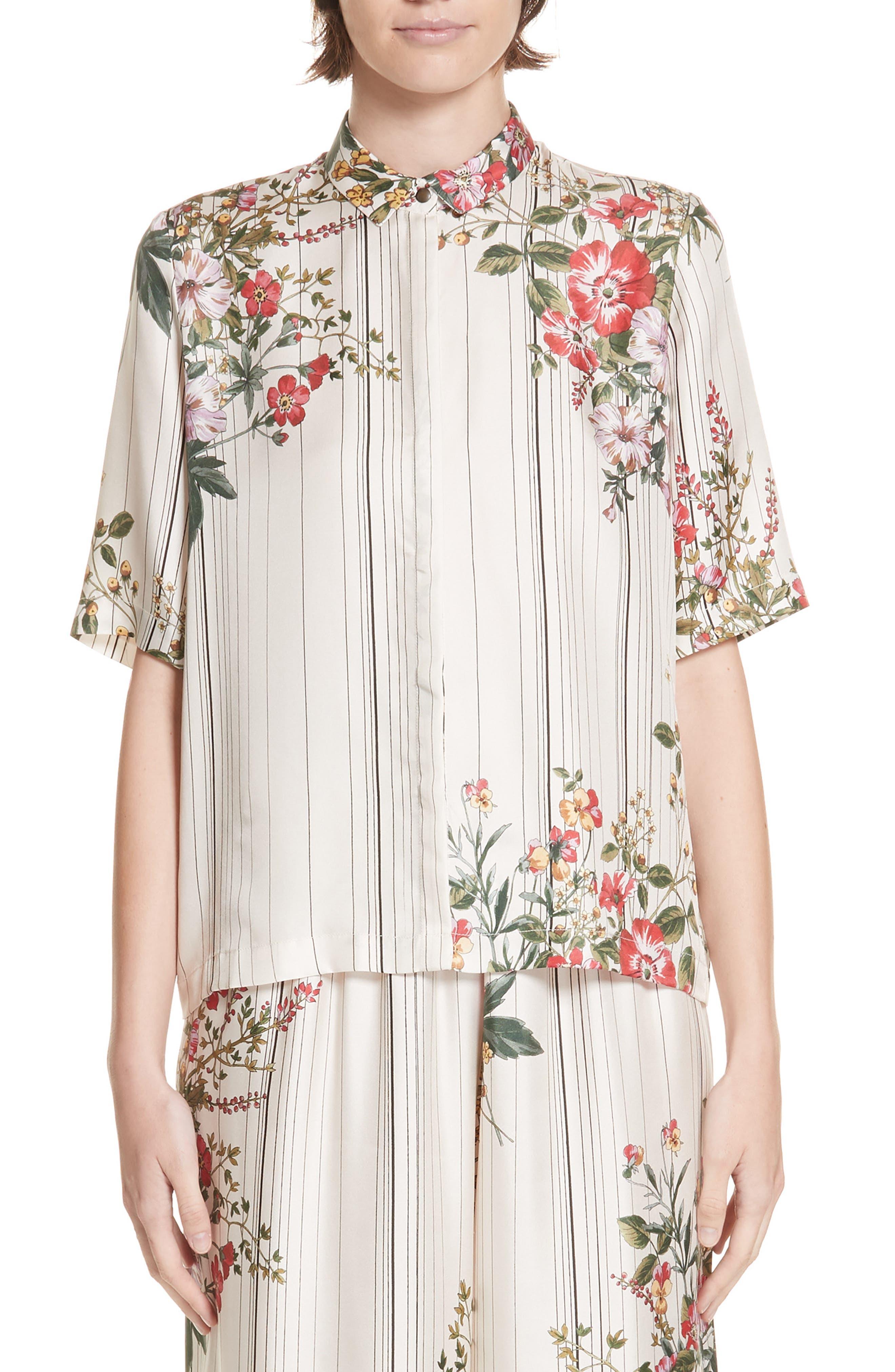 ROSEANNA Kinney Floral & Stripe Silk Shirt in Multi Ivoire
