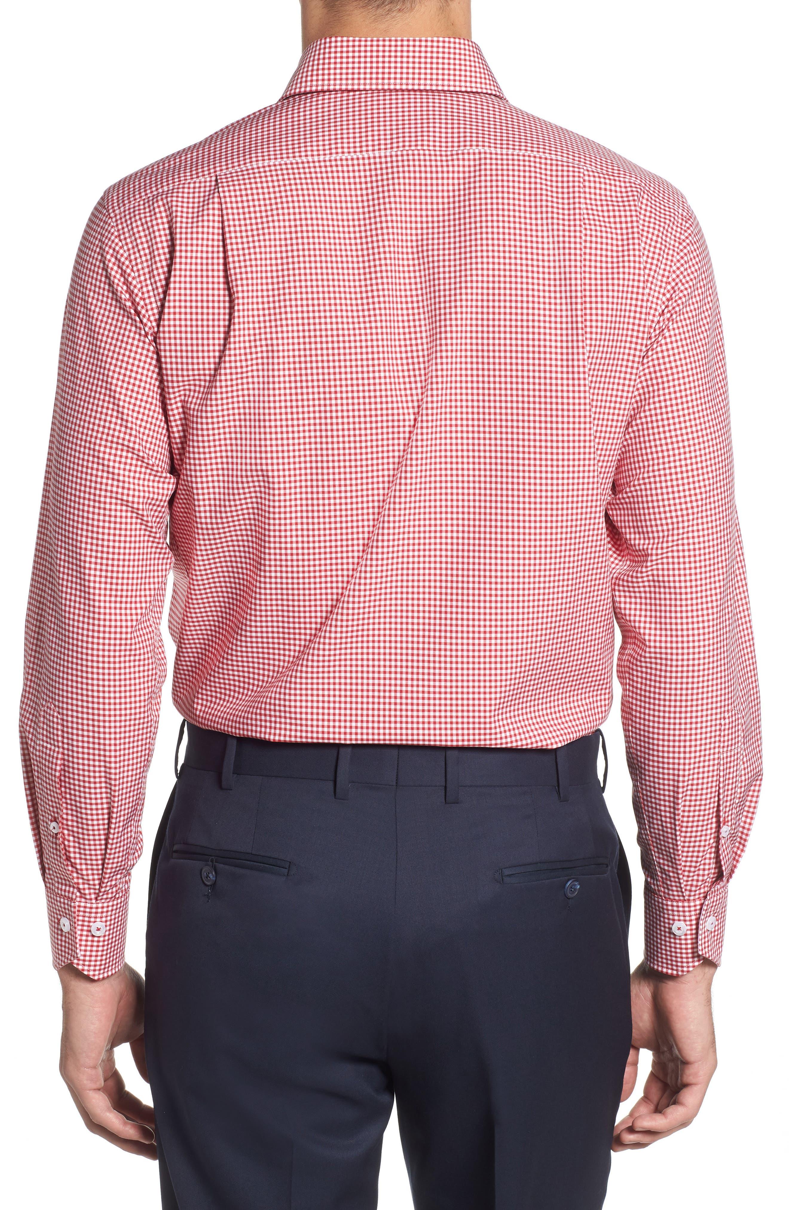 Trim Fit Check Dress Shirt,                             Alternate thumbnail 3, color,                             RED