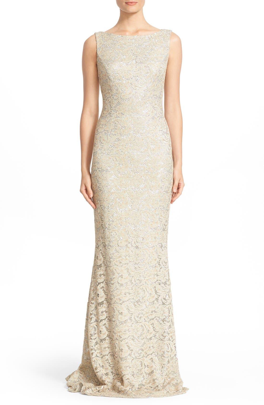 Sequin Lace Column Gown,                             Main thumbnail 1, color,                             SAND