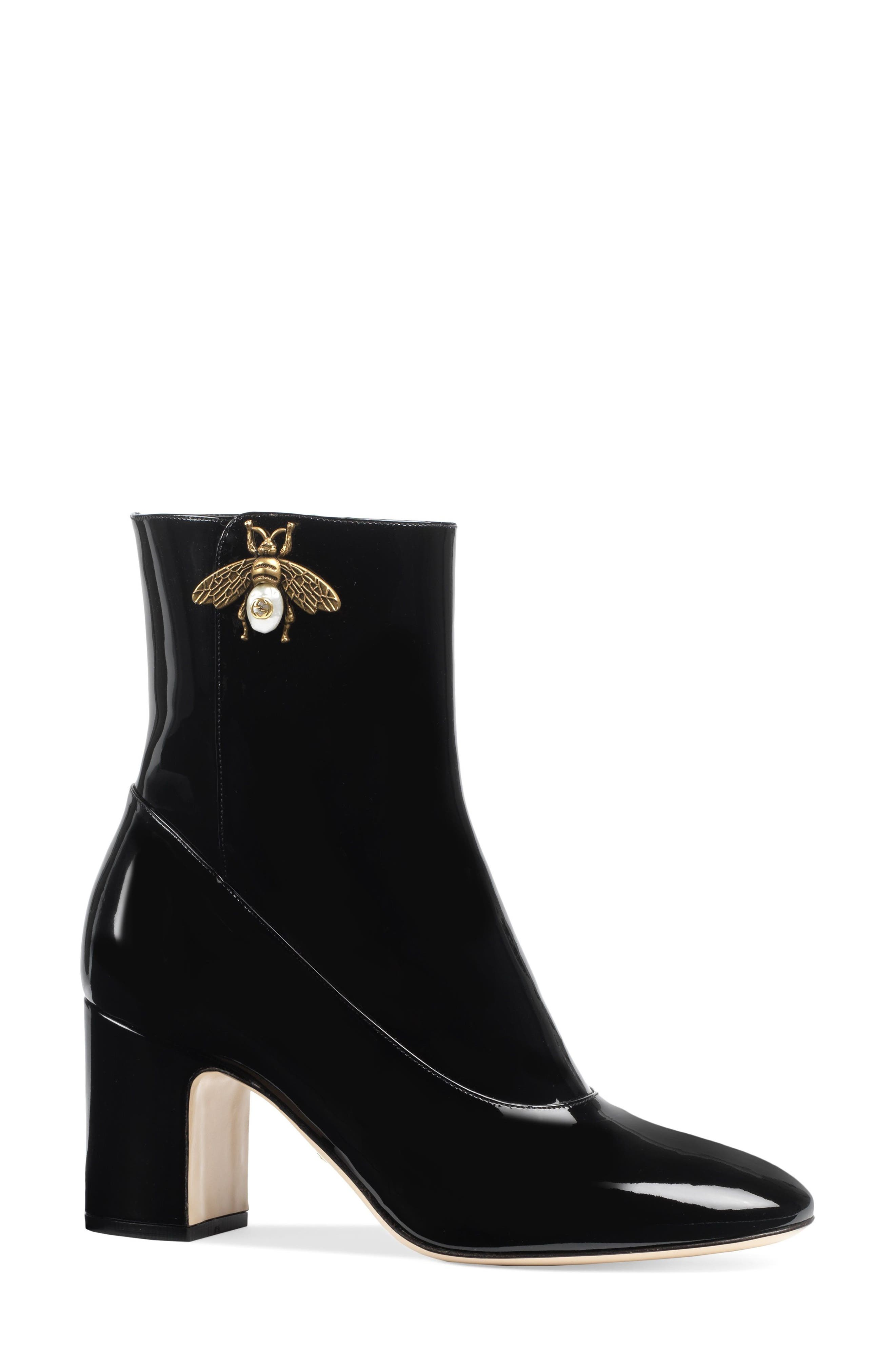 Bee Bootie, Main, color, BLACK PATENT
