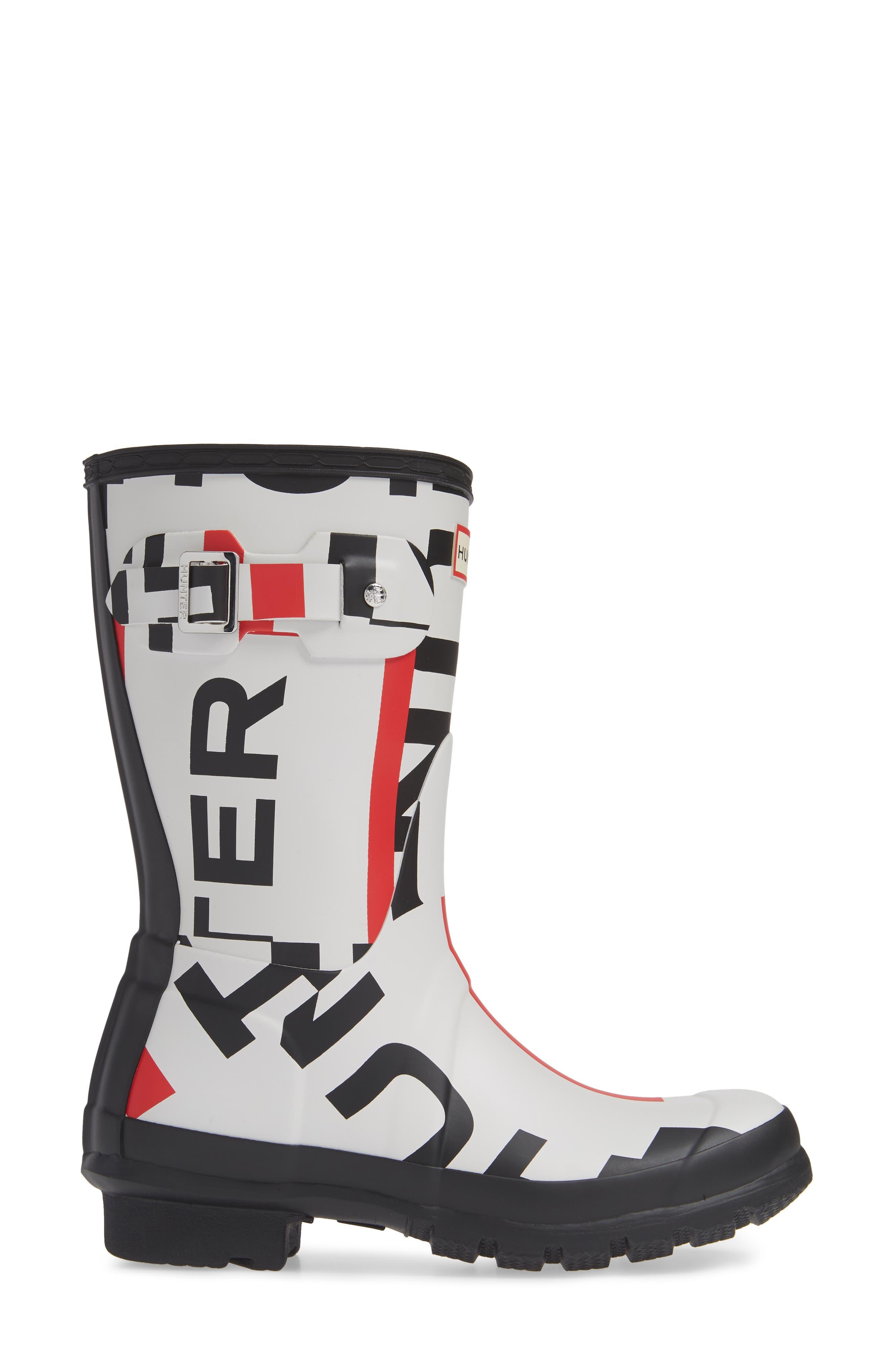 HUNTER,                             Original Exploded Logo Short Waterproof Rain Boot,                             Alternate thumbnail 3, color,                             001