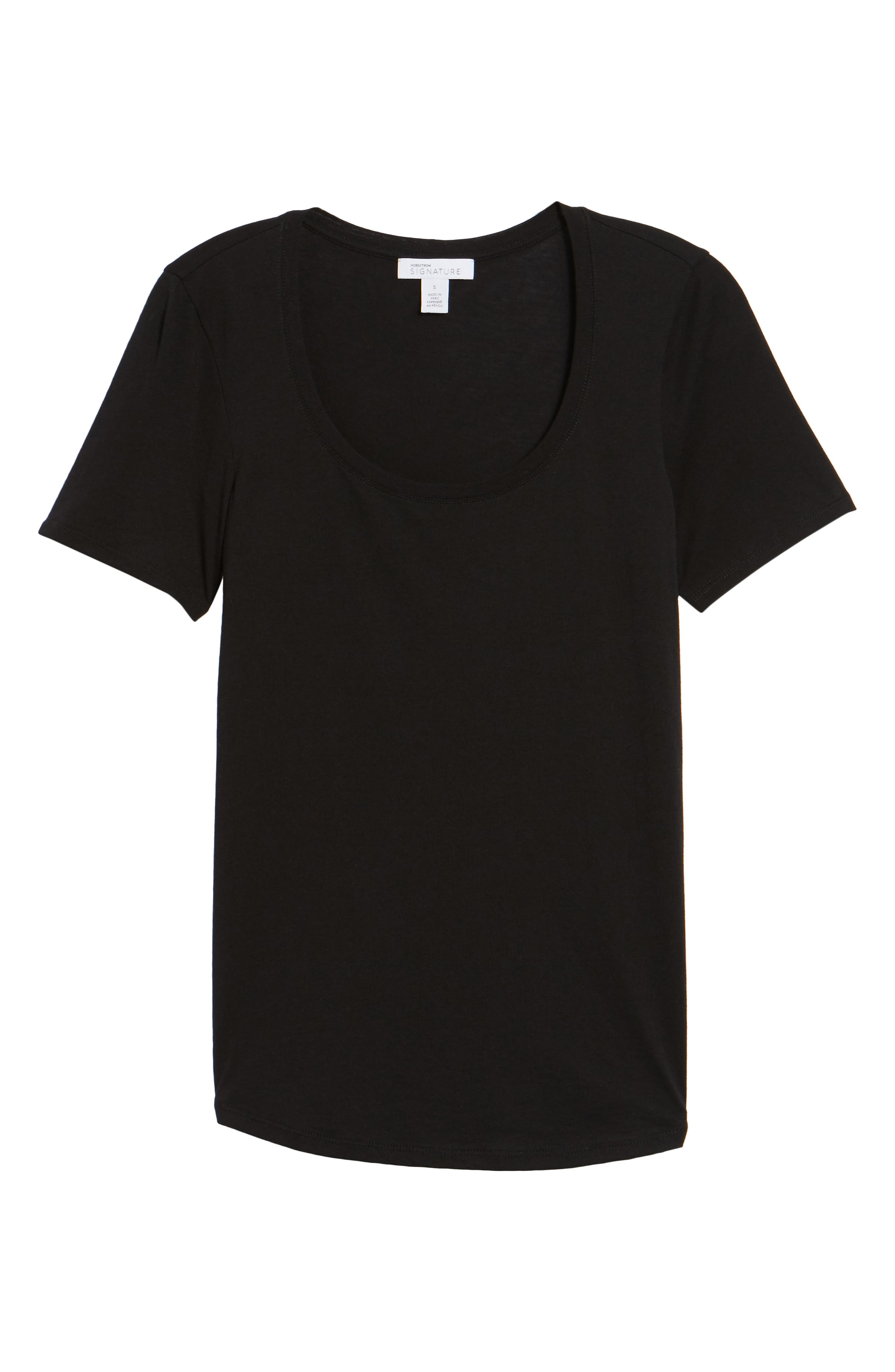 Scoop Neck Tee,                             Alternate thumbnail 6, color,                             001