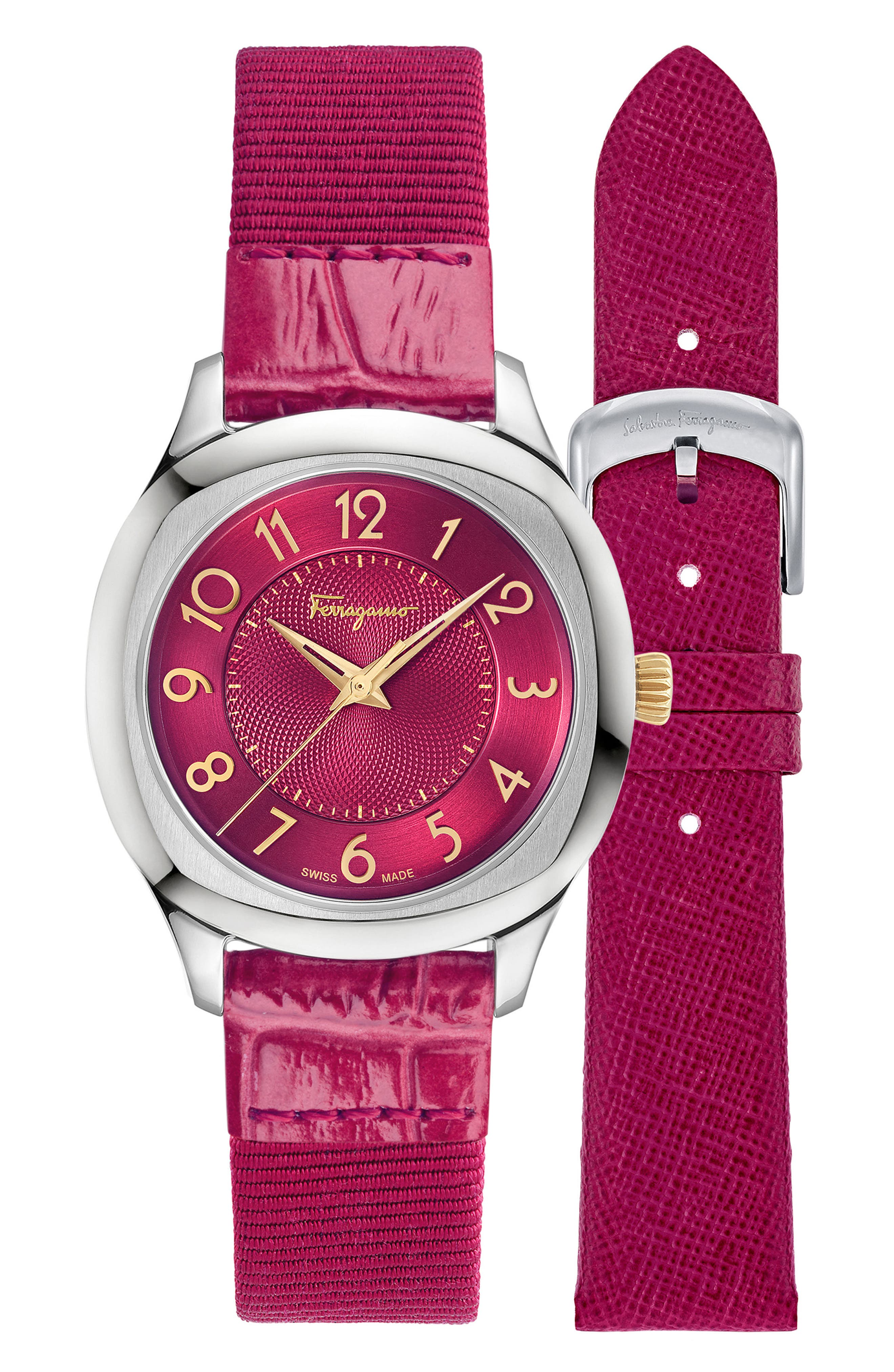 Dual Leather Strap Watch, 36mm,                             Alternate thumbnail 4, color,                             FUCHSIA/ SILVER