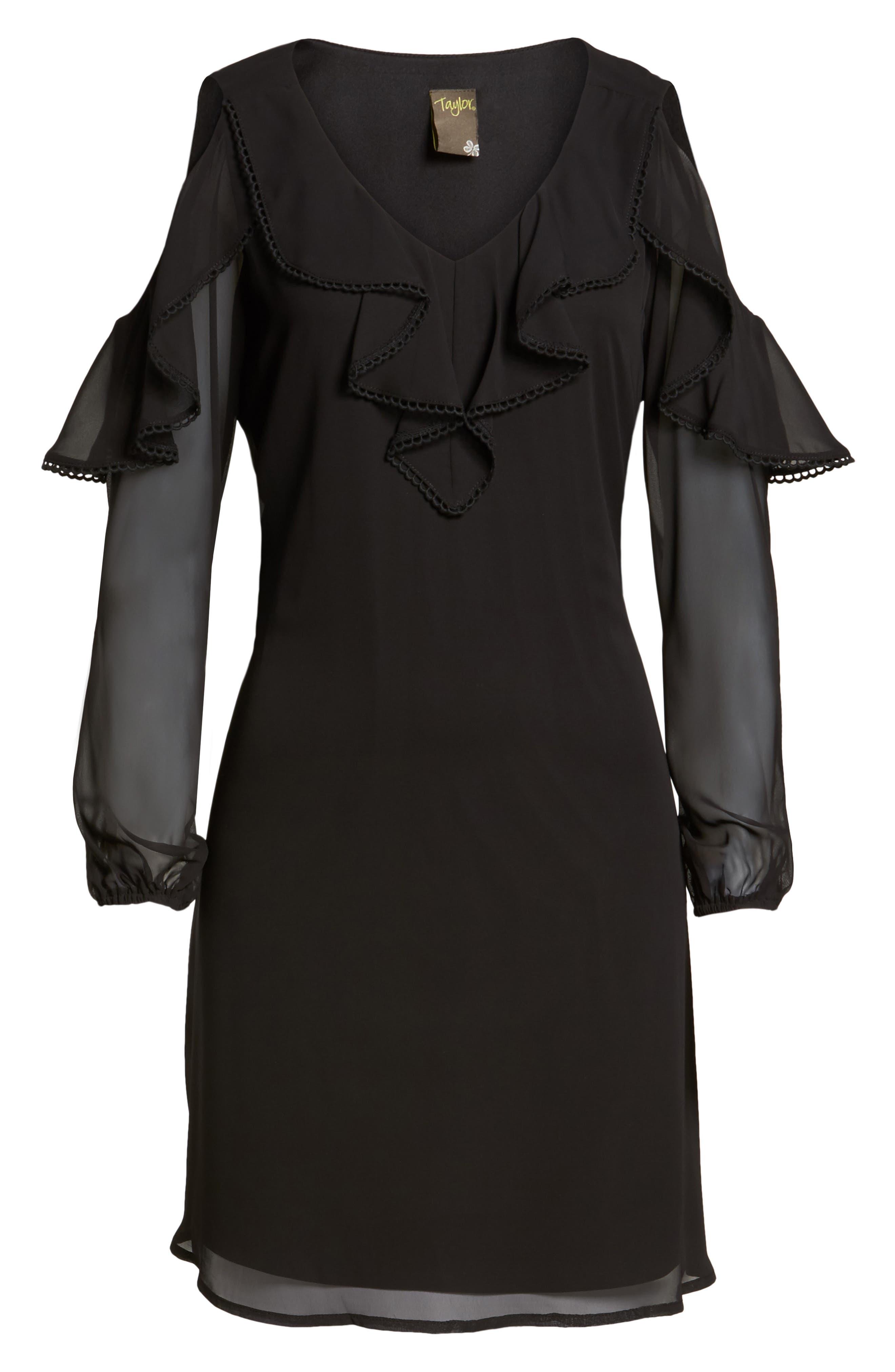 TAYLOR DRESSES,                             Chiffon Cold Shoulder A-Line Dress,                             Alternate thumbnail 6, color,                             001