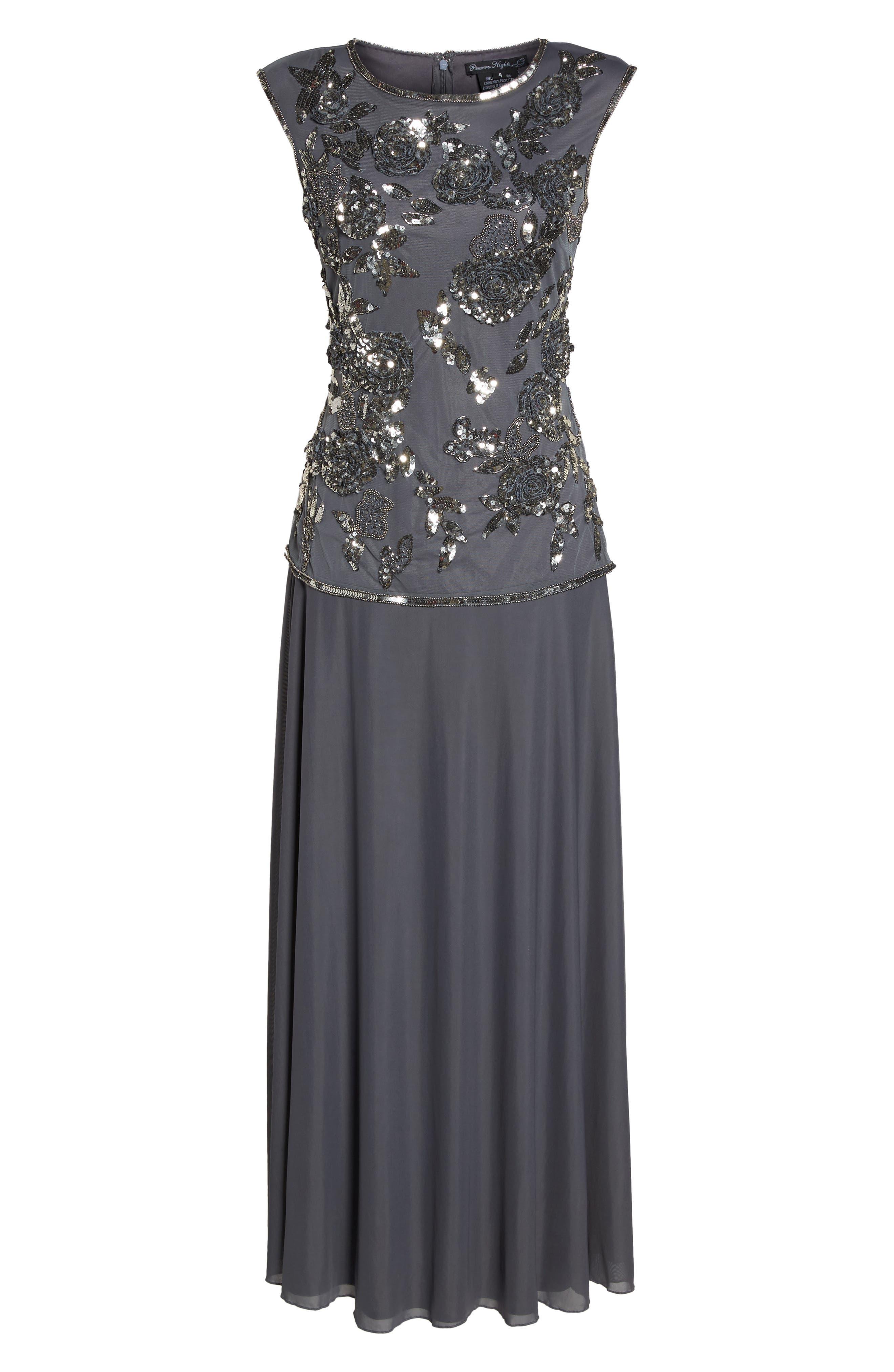Embellished Long Dress,                             Alternate thumbnail 6, color,                             020