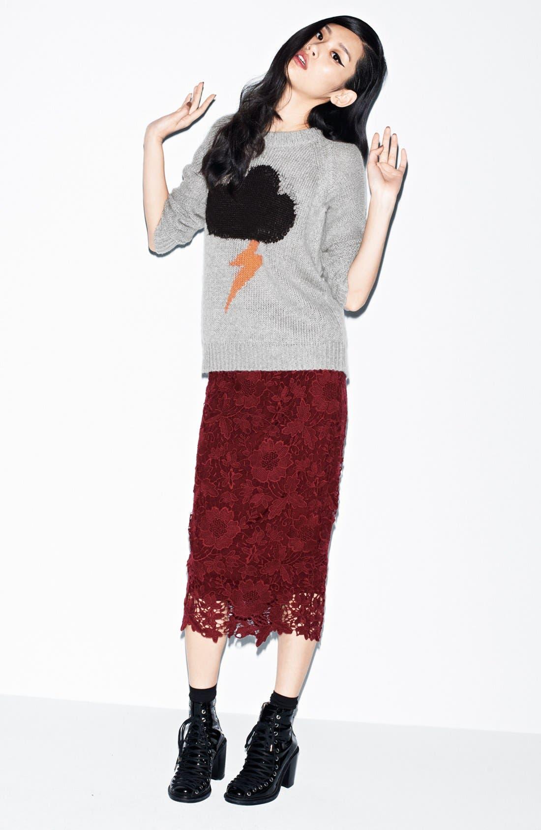 'Raincloud' Intarsia Knit Sweater,                             Alternate thumbnail 4, color,