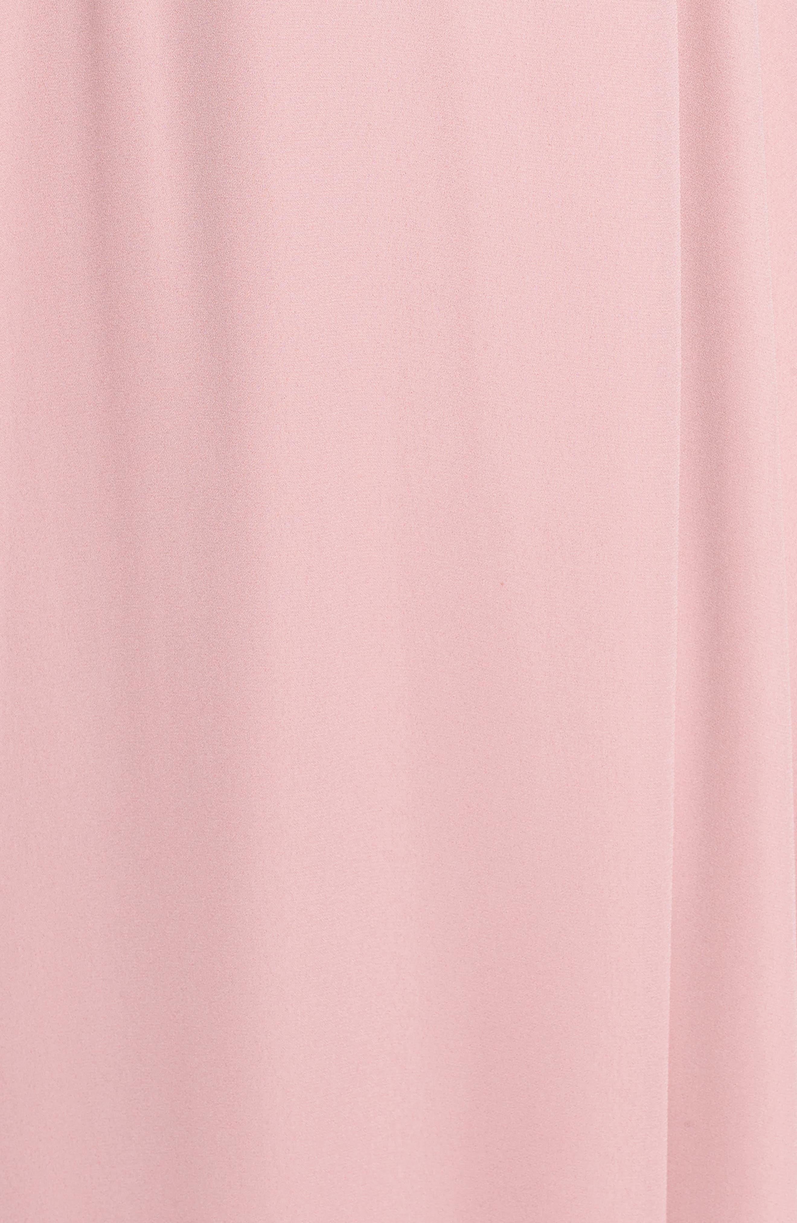 Lila Long Sleeve Wrap Gown,                             Alternate thumbnail 6, color,                             DESERT ROSE
